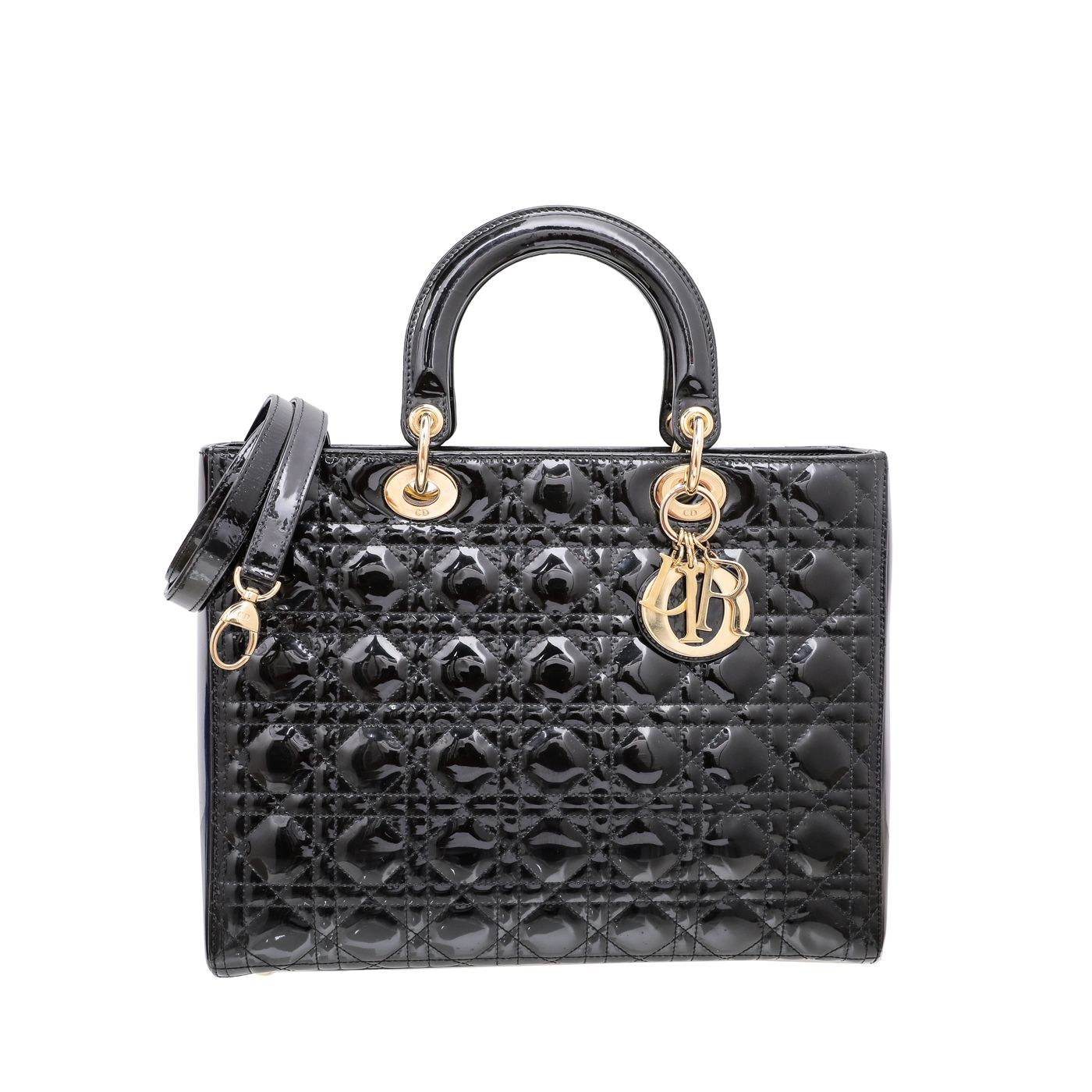 Christian Dior Black Lady Dior Large Bag