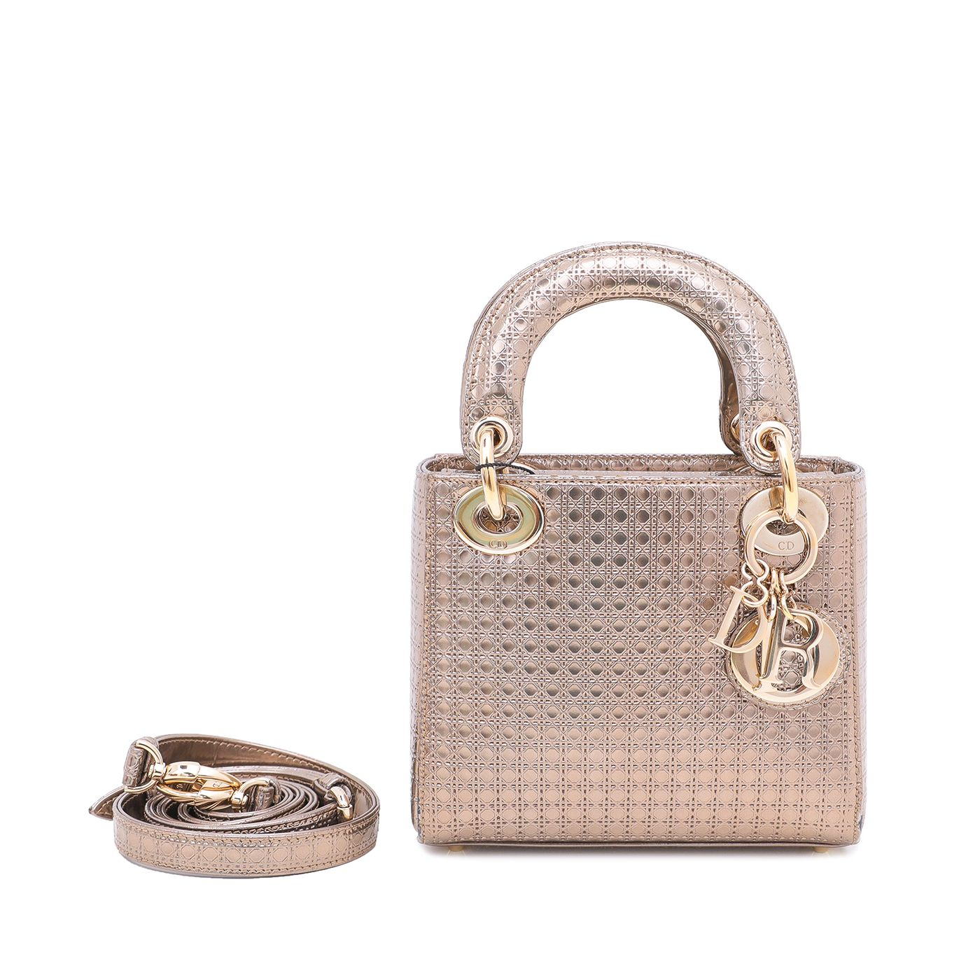 Christian Dior Metallic Champagne Lady Dior Micro Cannage Bag