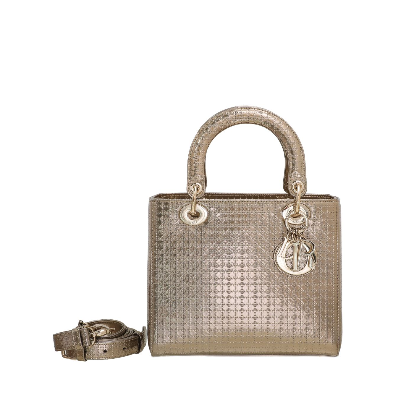 Christian Dior Champagne Lady Dior Micro Cannage Medium Bag