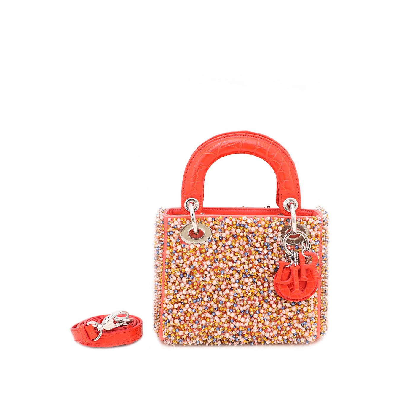 Christian Dior Orange Satin Lady Dior Beaded Croco Handle Bag