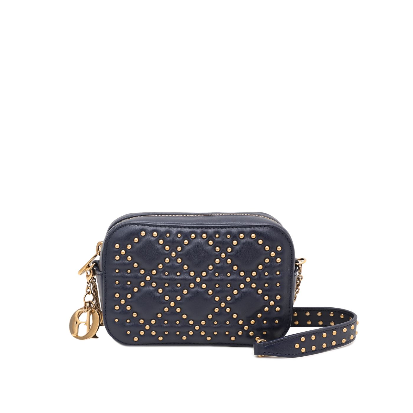 Christian Dior Navy Blue Lady Dior Studded Camera Chain Bag