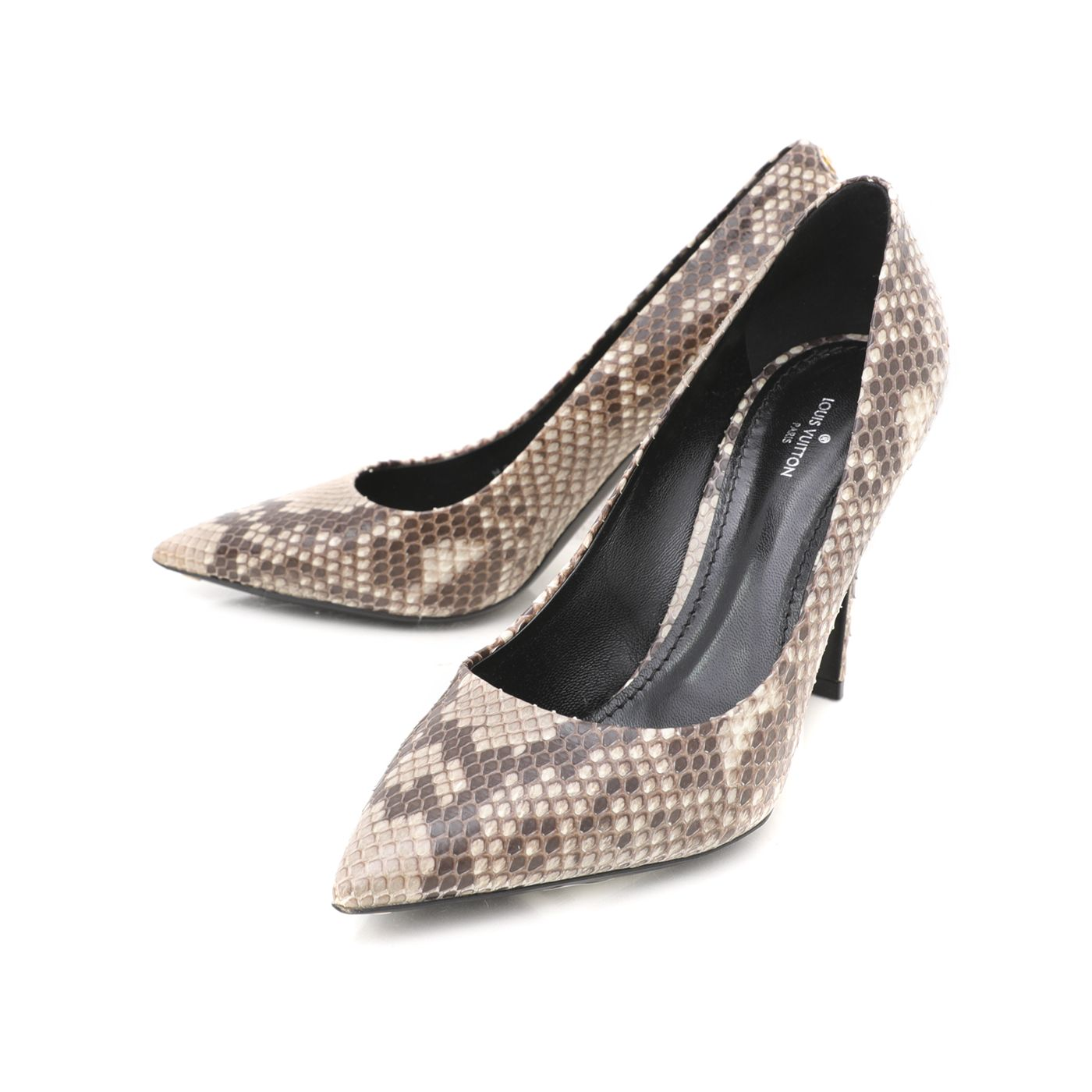 Louis Vuitton Bicolor Python Eyelibe Pointed Pumps 38