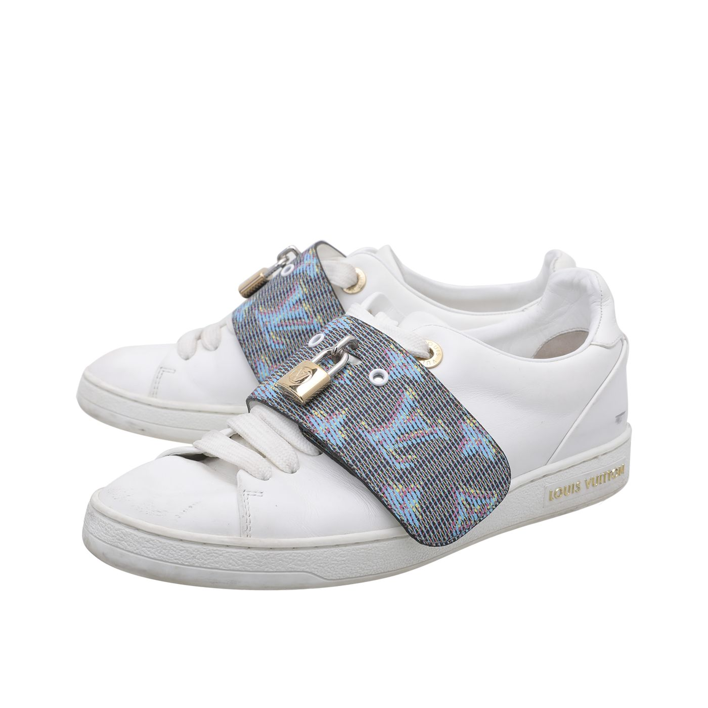 Louis Vuitton White Frontrow Lock Sneakers 35