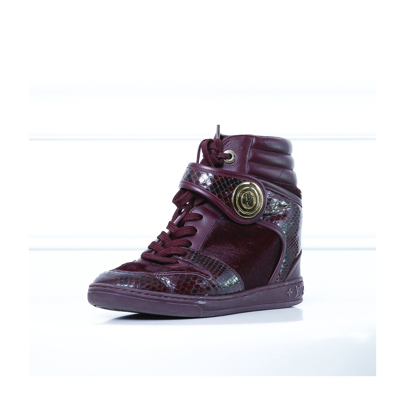 Louis Vuitton Dark Maroon Python High Cut Sneakers 37.5