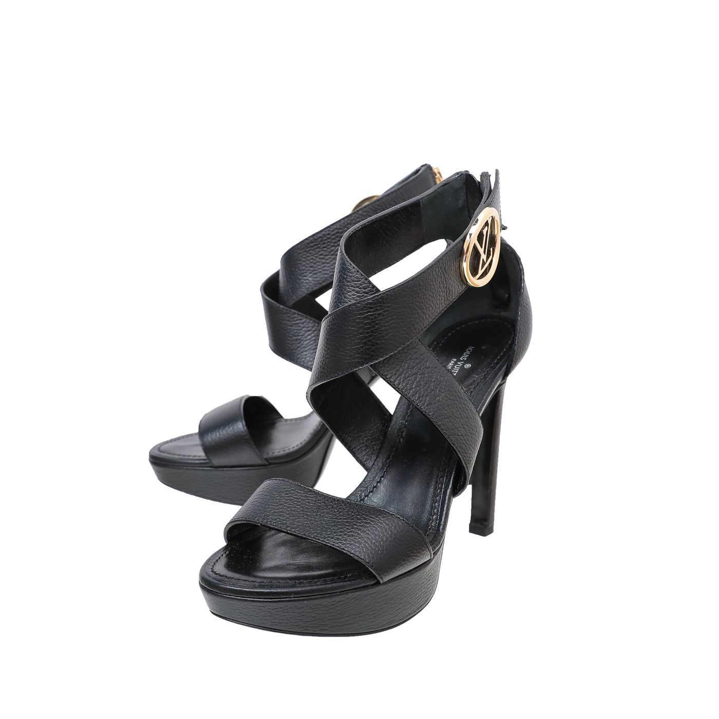 Louis Vuitton Black Horizon Platform Sandals 38
