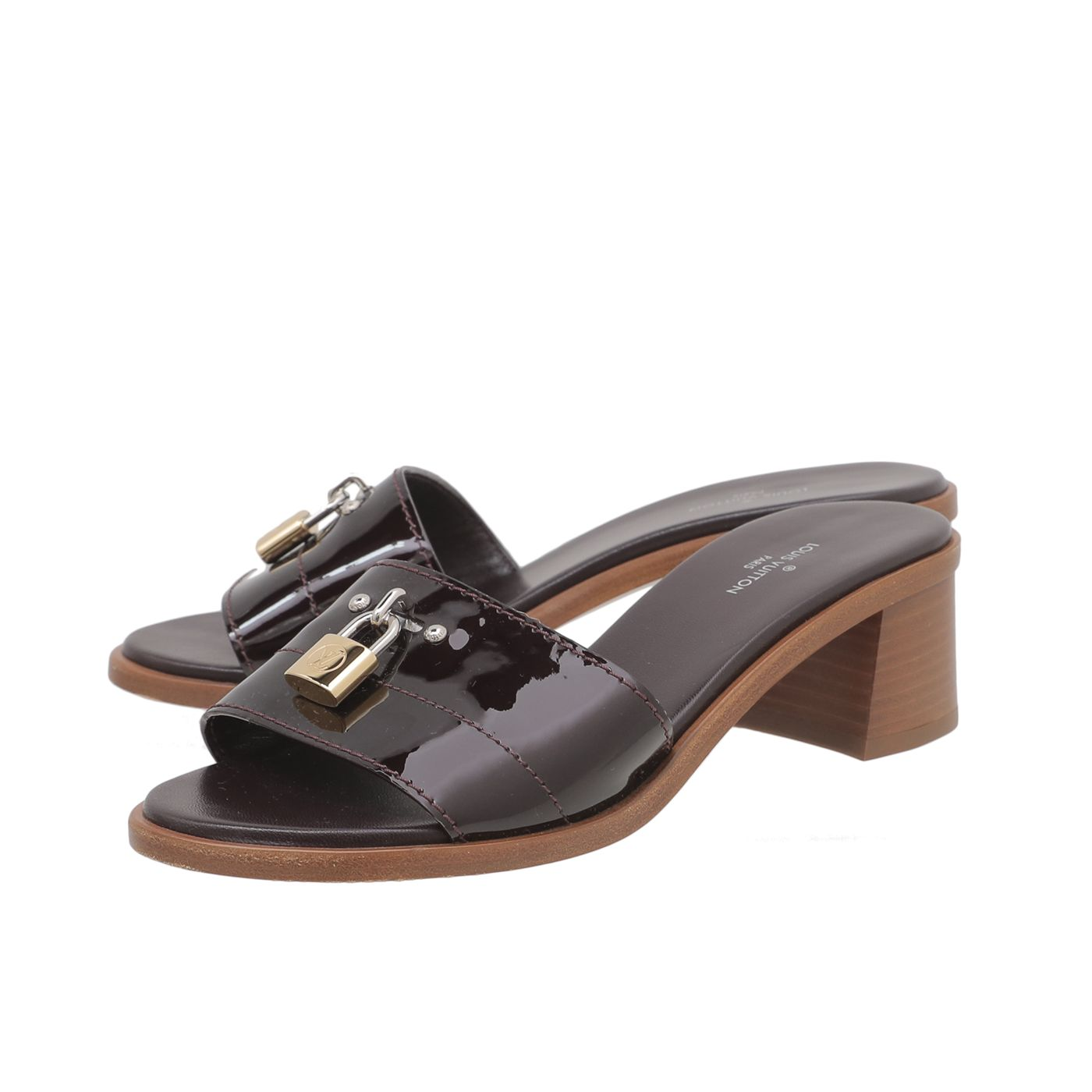 Louis Vuitton Amarante Vernis Lock It Mules 35