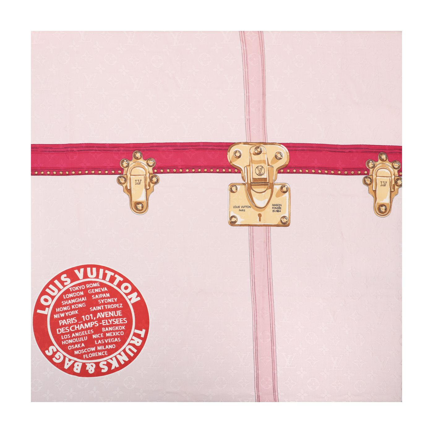 Louis Vuitton Monogram Pink Summer Trunks Shawl