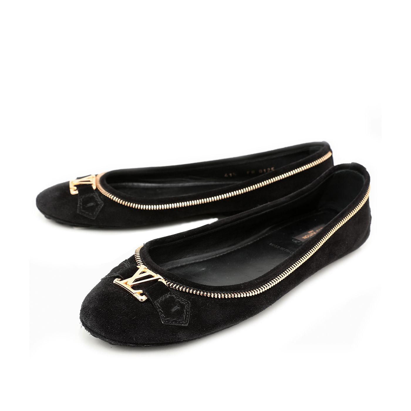Louis Vuitton Black Suede Oxford Zip Edges Ballerina Flats 41.5