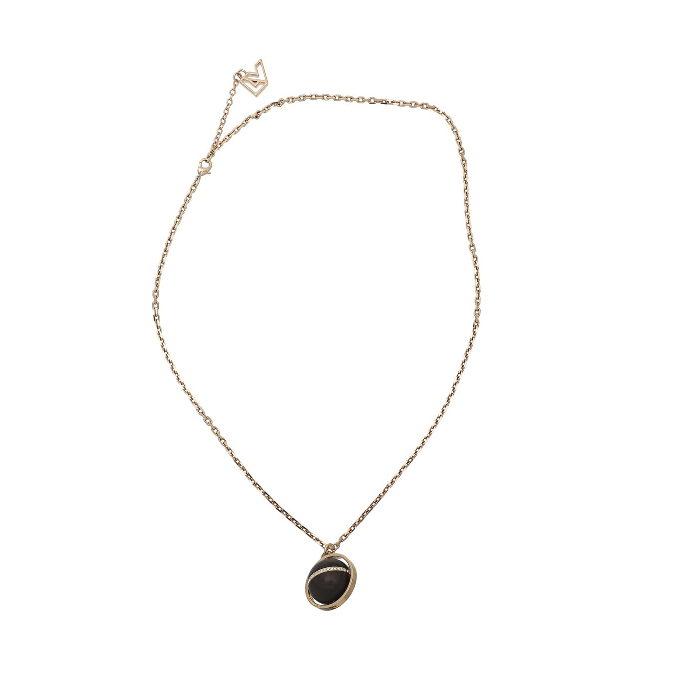Louis Vuitton Brown Wood Crystal Globe Necklace