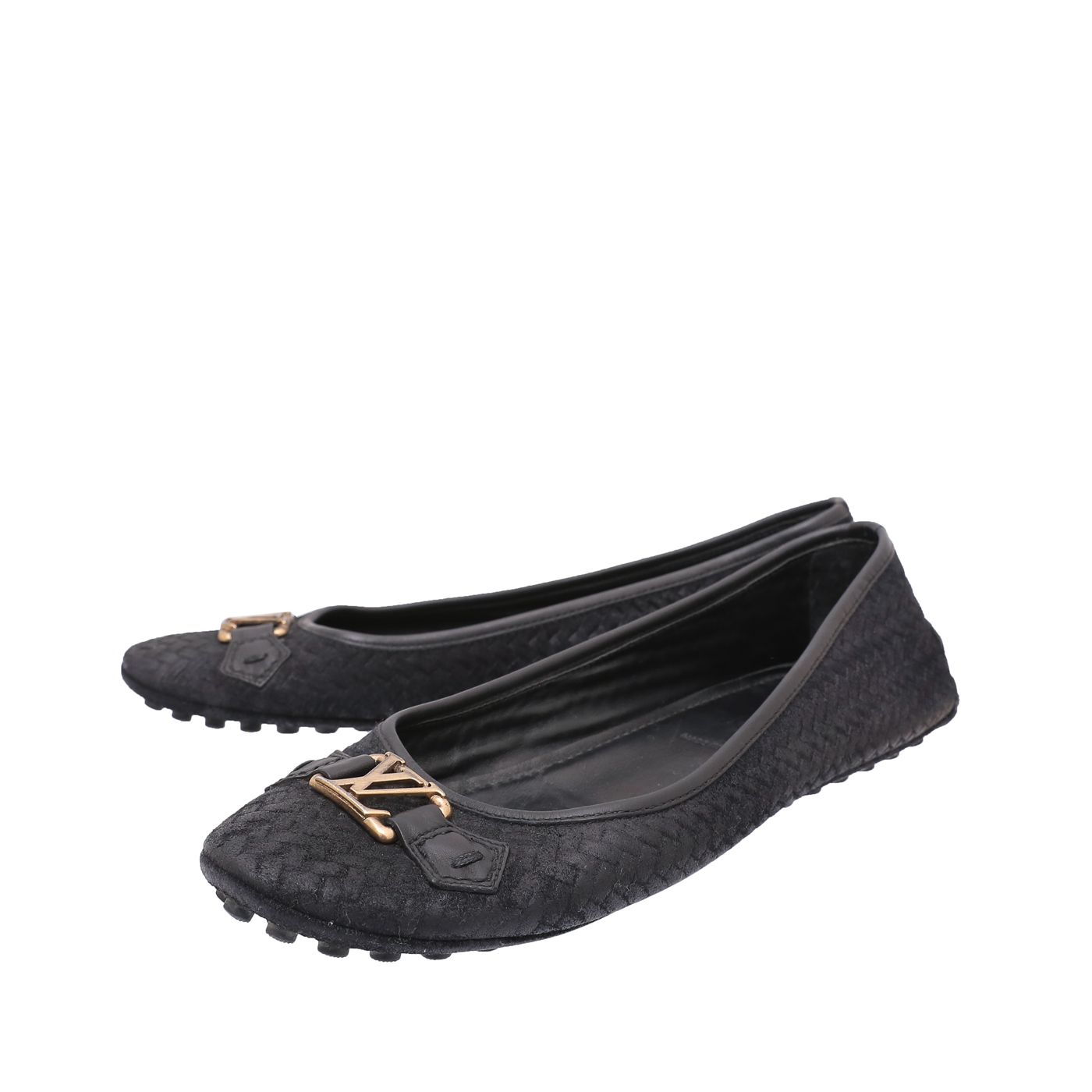 Louis Vuitton Black Woven Suede Oxford Loafers 40