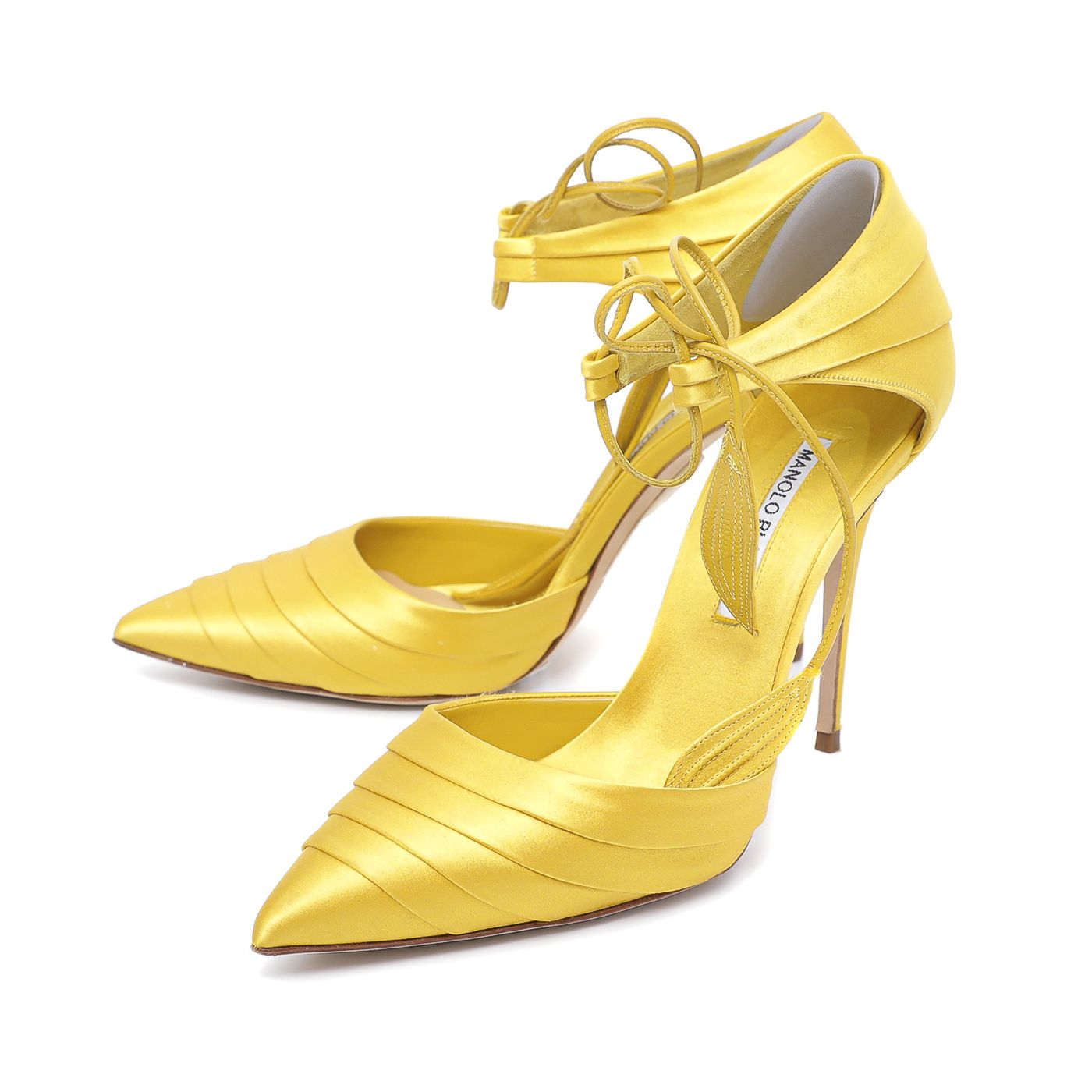 Manolo Blahnik Yellow Pleated Reya Pointed Pumps 39