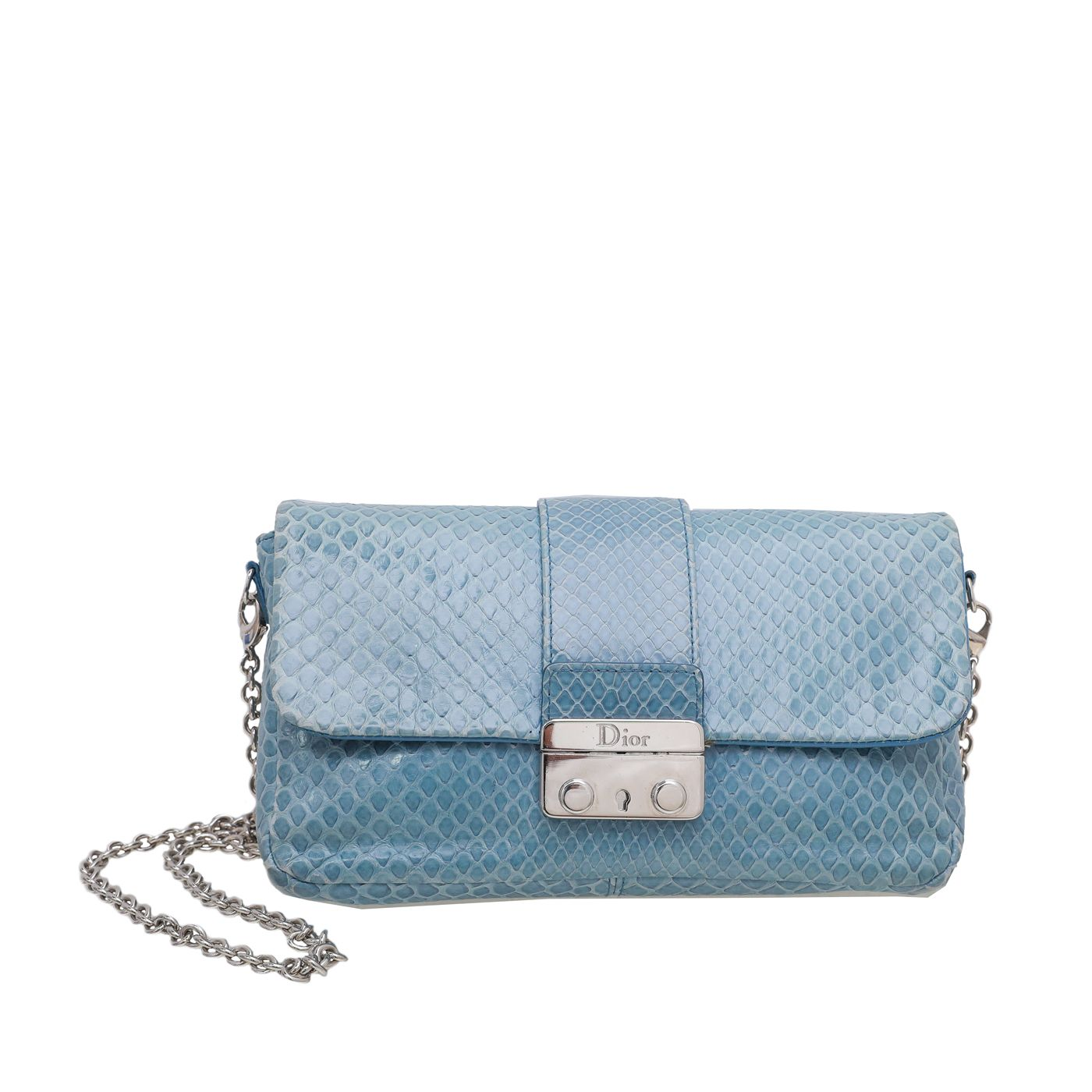 Christian Dior Blue Shiny Python Miss Dior Small Chain Bag