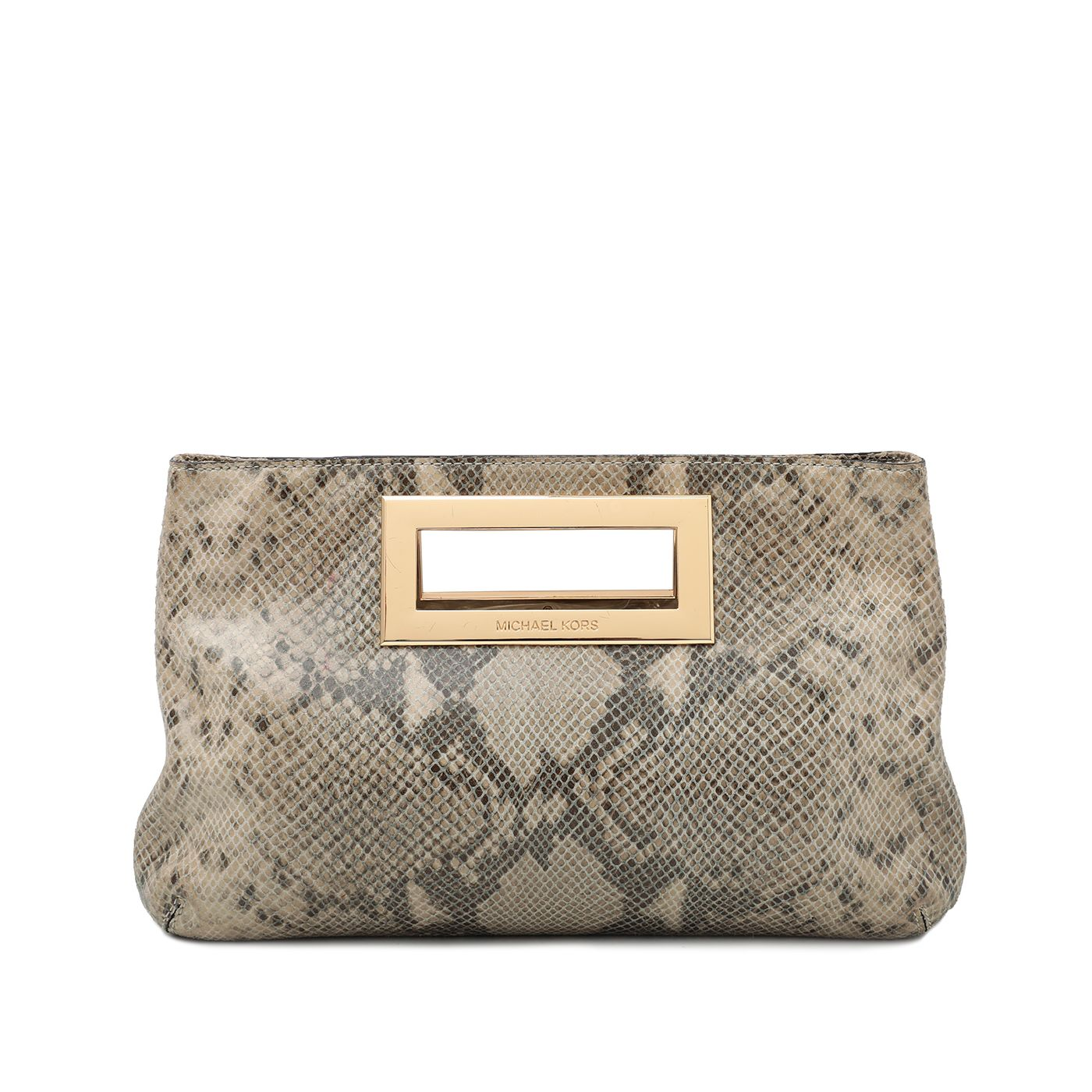 Michael Kors Gray Python Berkley Clutch