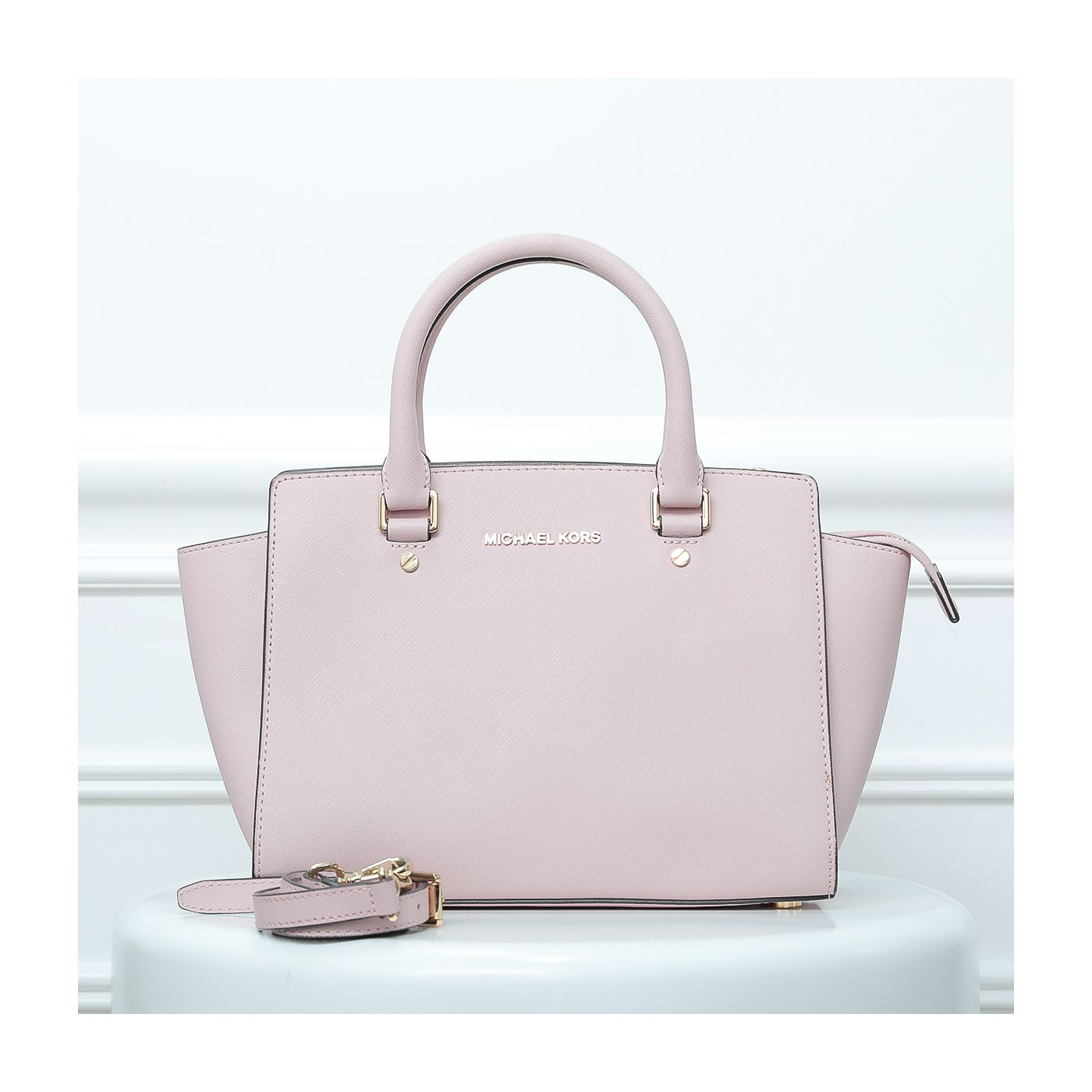 Michael Kors Rose Selma Trapeze Satchel Bag