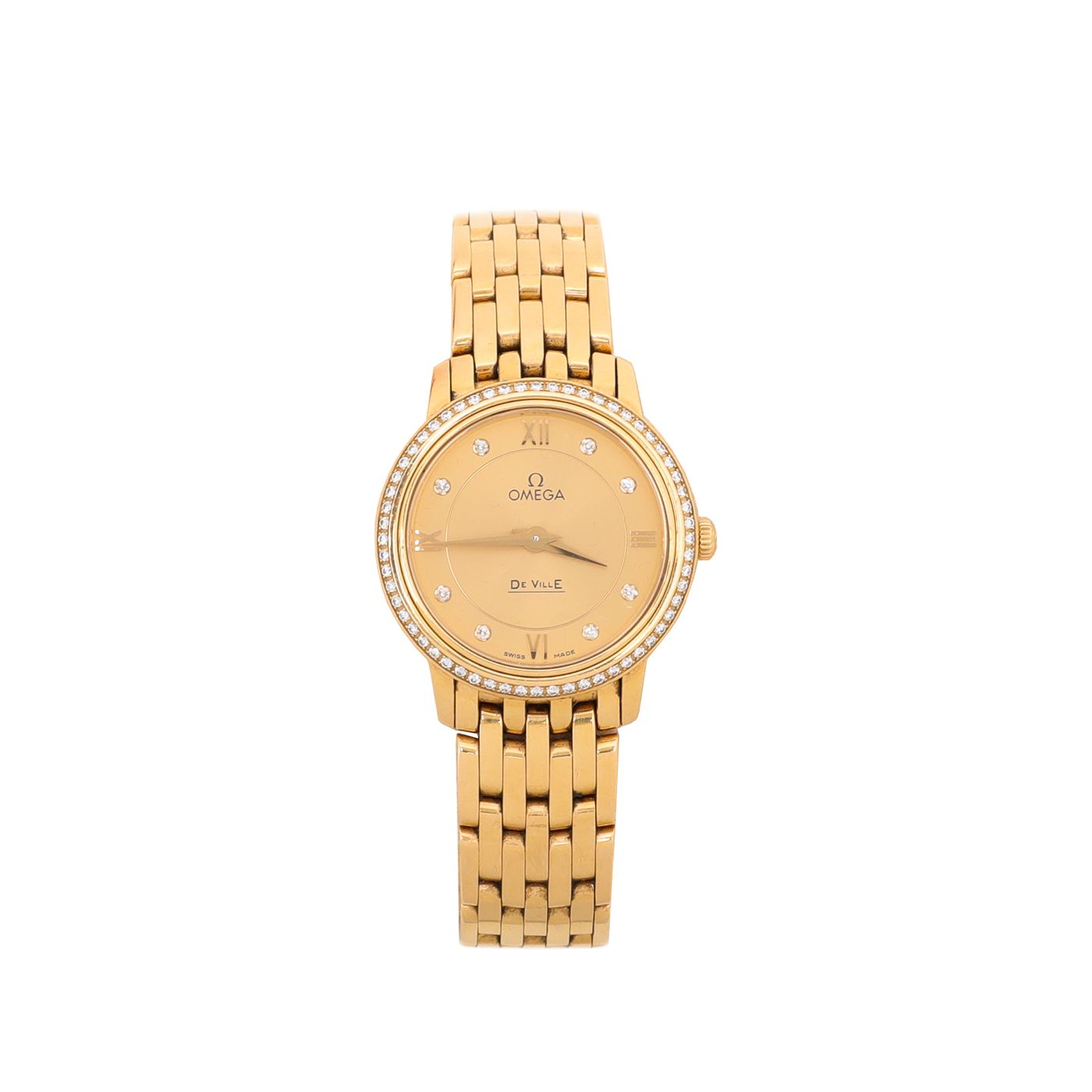 Omega 18K Yellow Gold Diamonds De Ville Prestige 27.4 mm Quartz Watch