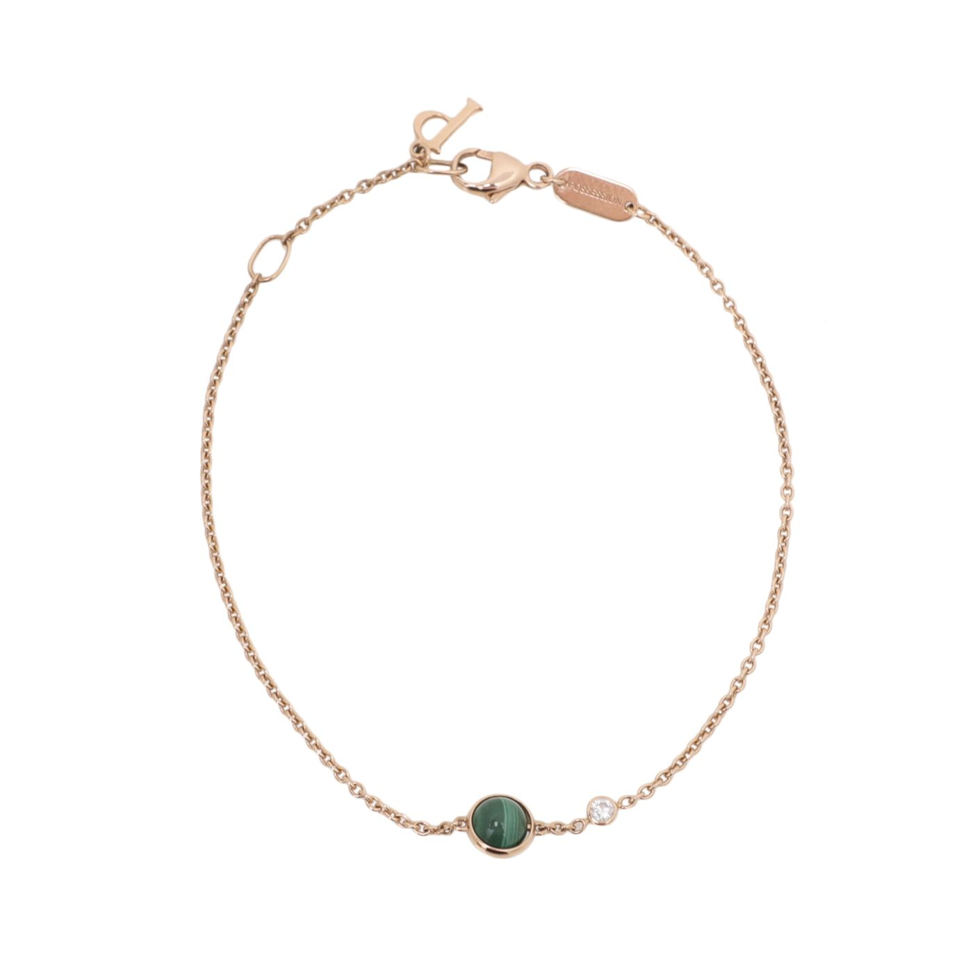 Piaget 18K Rose Gold Malachite Bead Diamond Possession Chain Bracelet