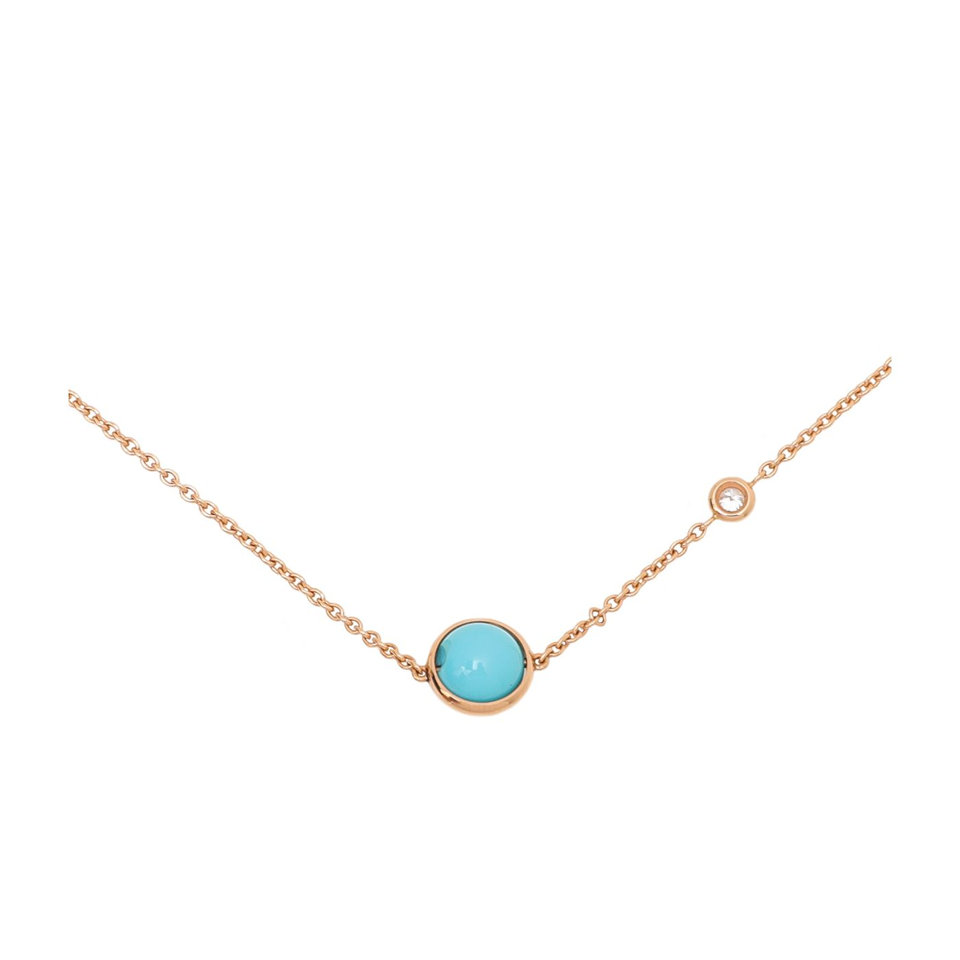 Piaget 18K Rose Gold Diamond Turquoise Pendant Possession Necklace