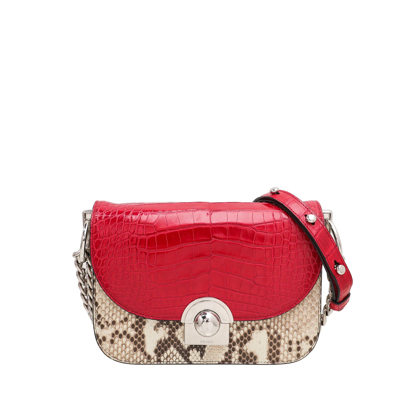 Prada Bicolor Python Arcade Shoulder Bag