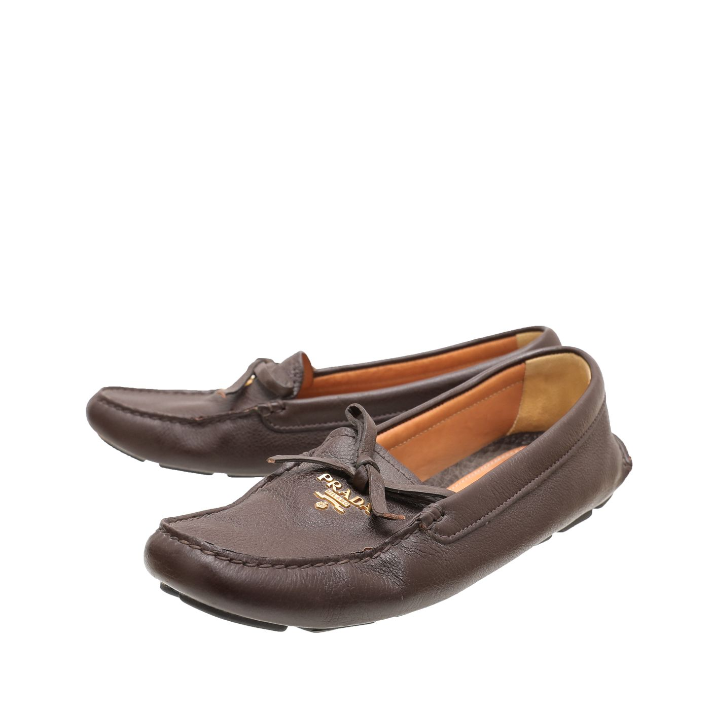 Prada Brown Bow Detail Moccasin Loafers 37