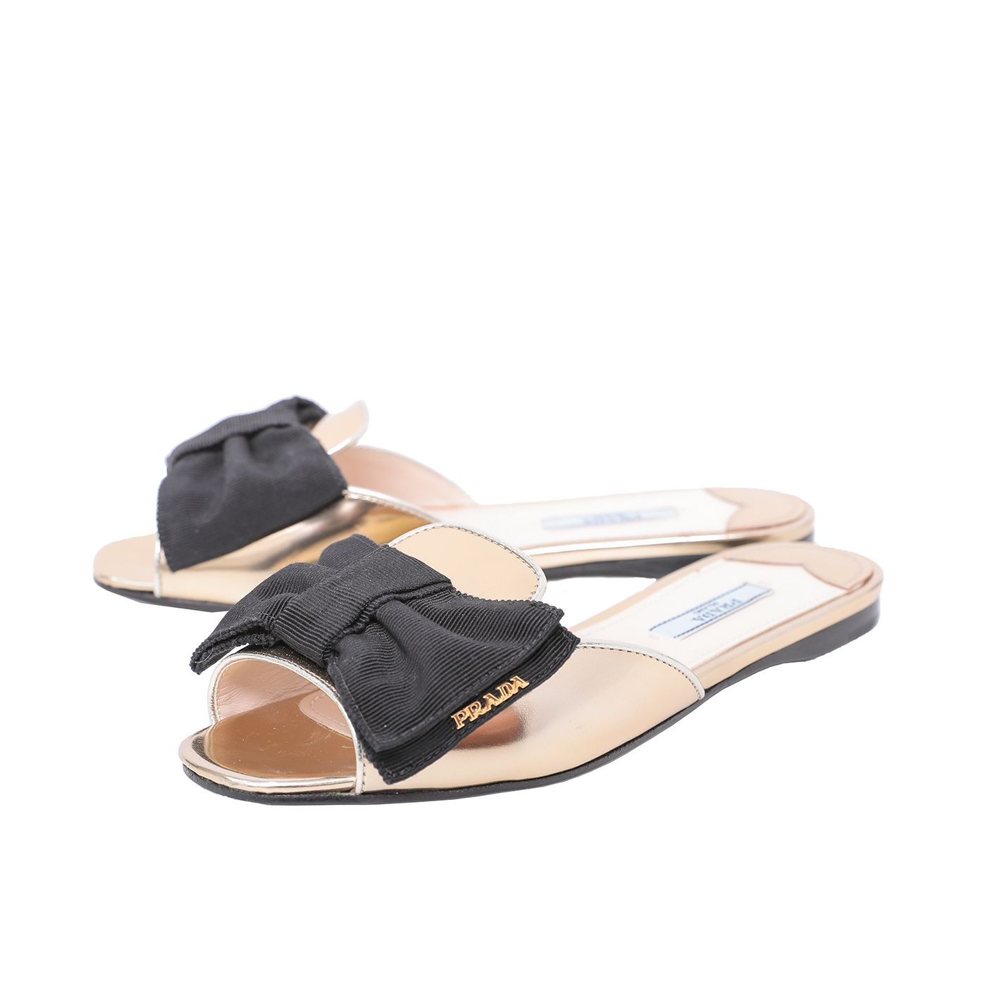 Prada Black Bow Flat Sandals 36.5