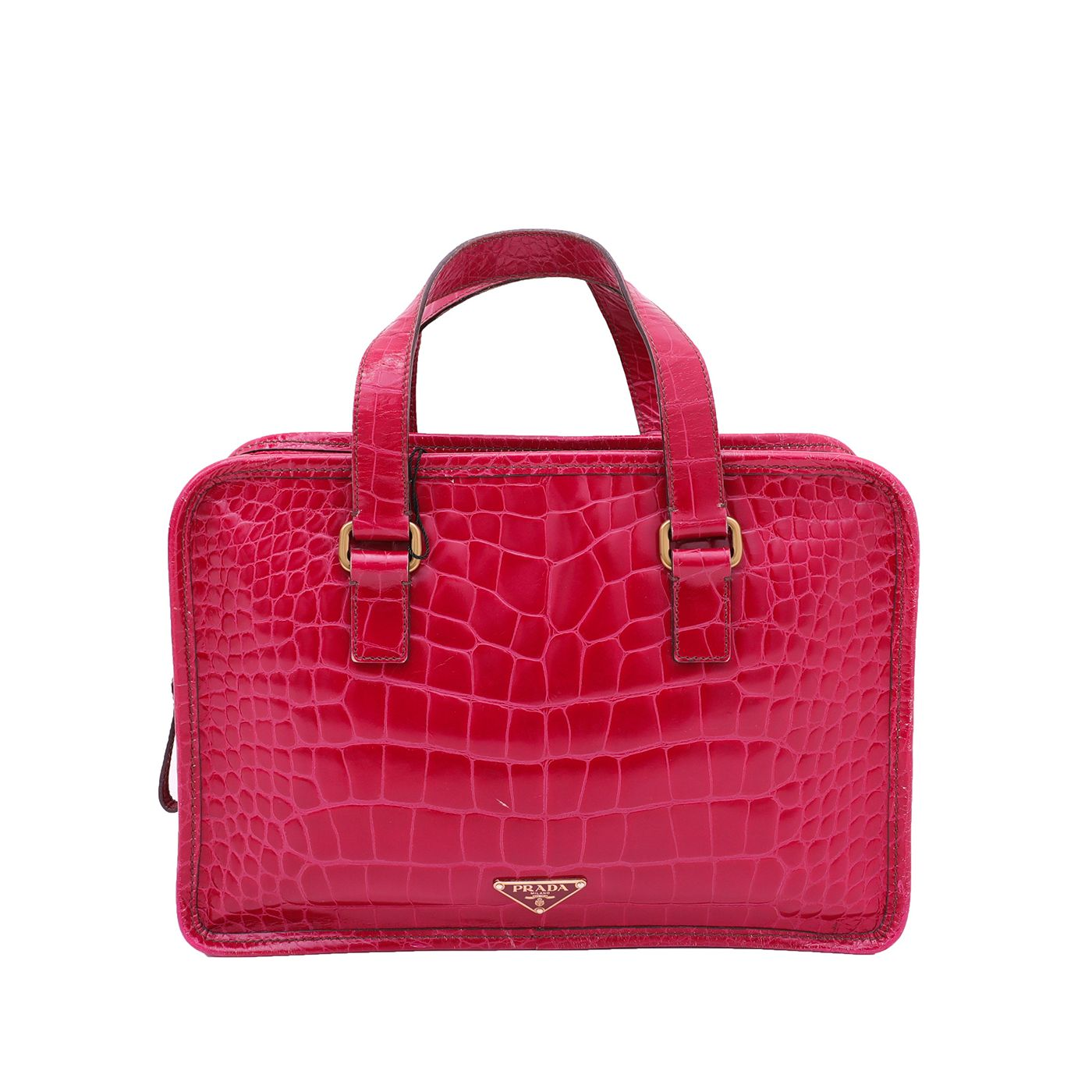 Prada Maroon Crocodile Print Handle Bag