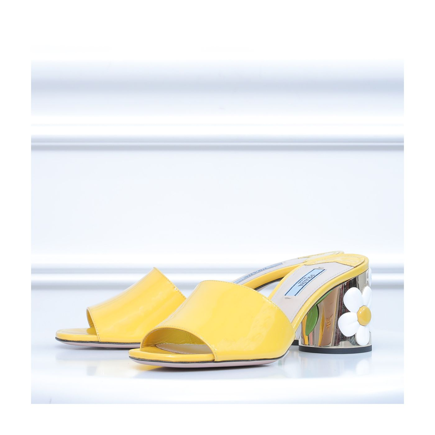 Prada Yellow Flower Heel Slide Sandals 37