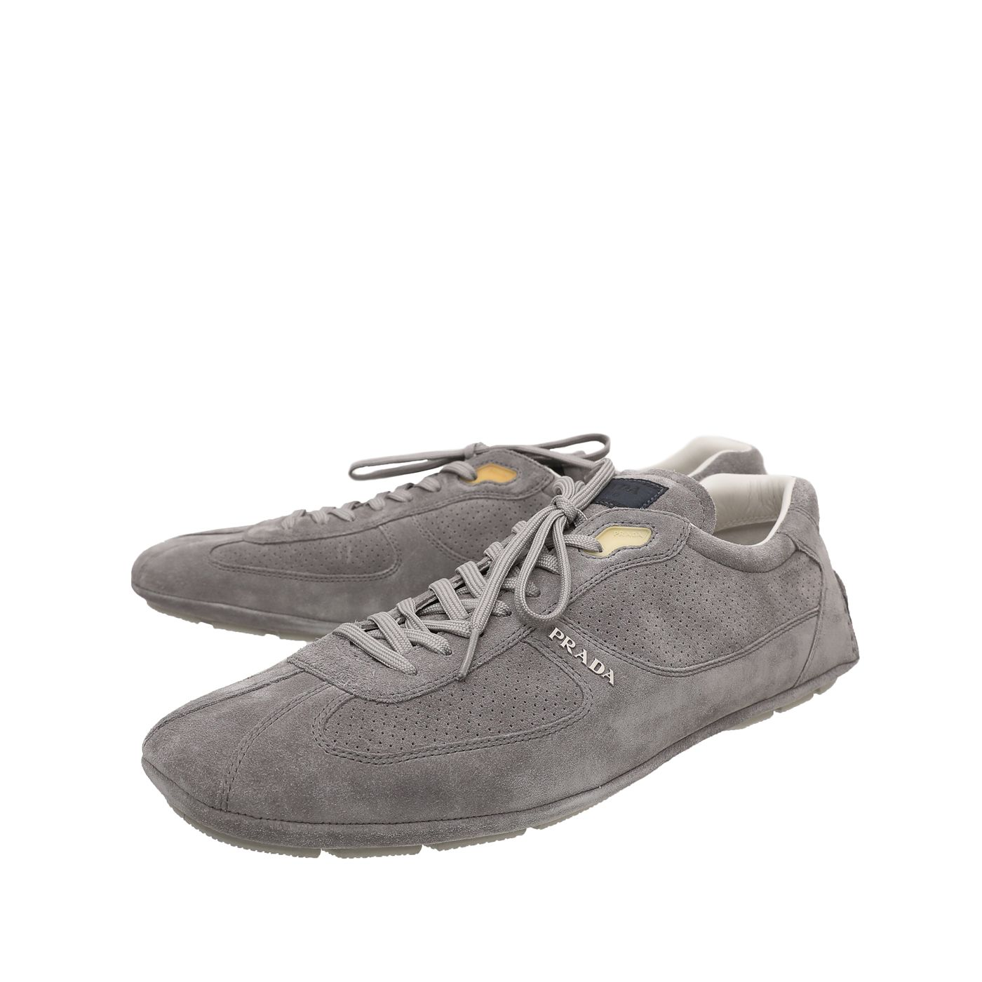 Prada Gray Suede Lace Low Top Sneakers 12
