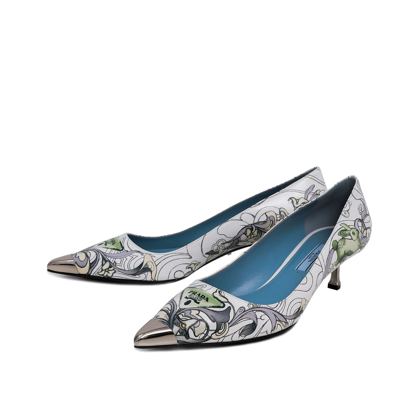 Prada Multicolor Metal Captoe Printed Kitten Heel 38