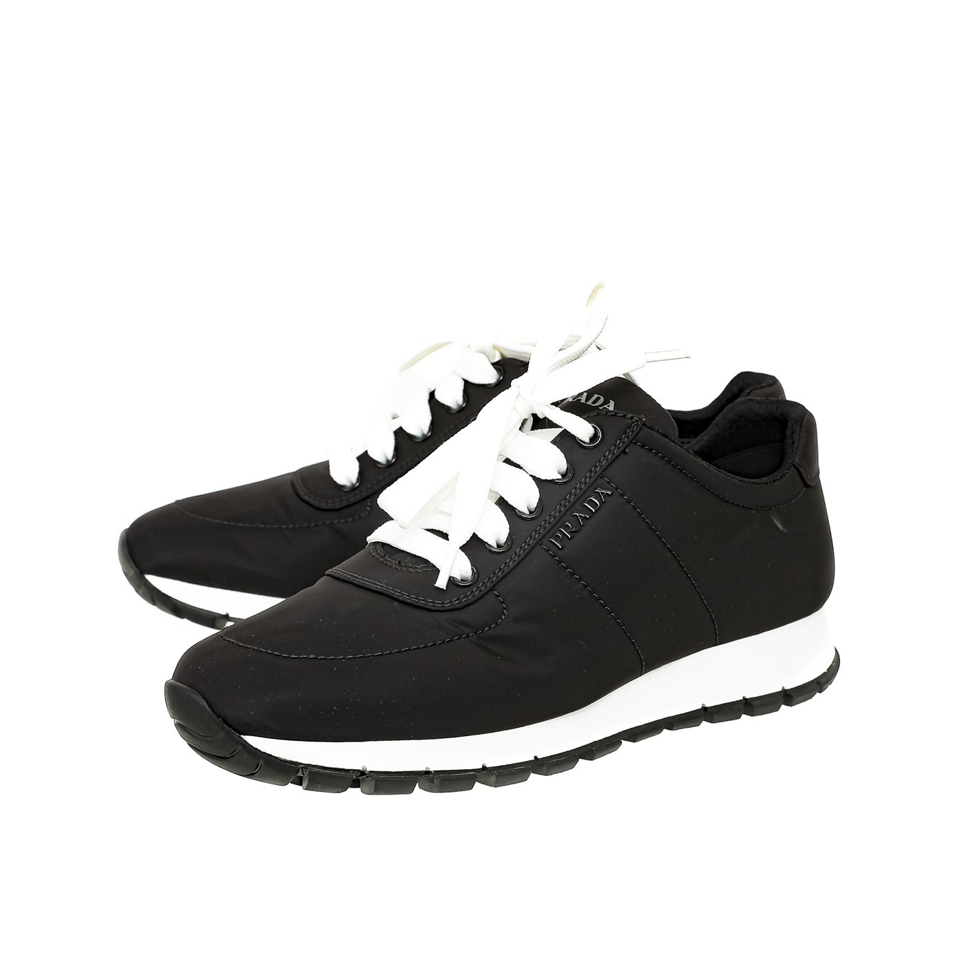 Prada Bicolor Nylon Lace Up Sneakers