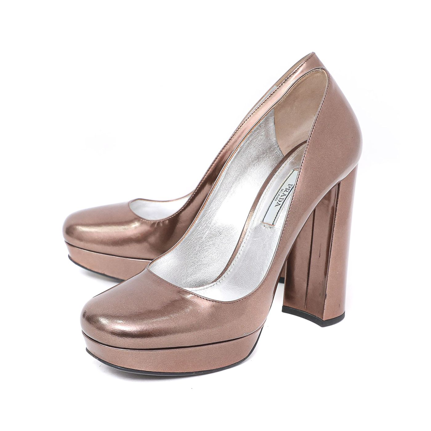 Prada Metallic Bronze Platform Round Toe Pumps 38.5