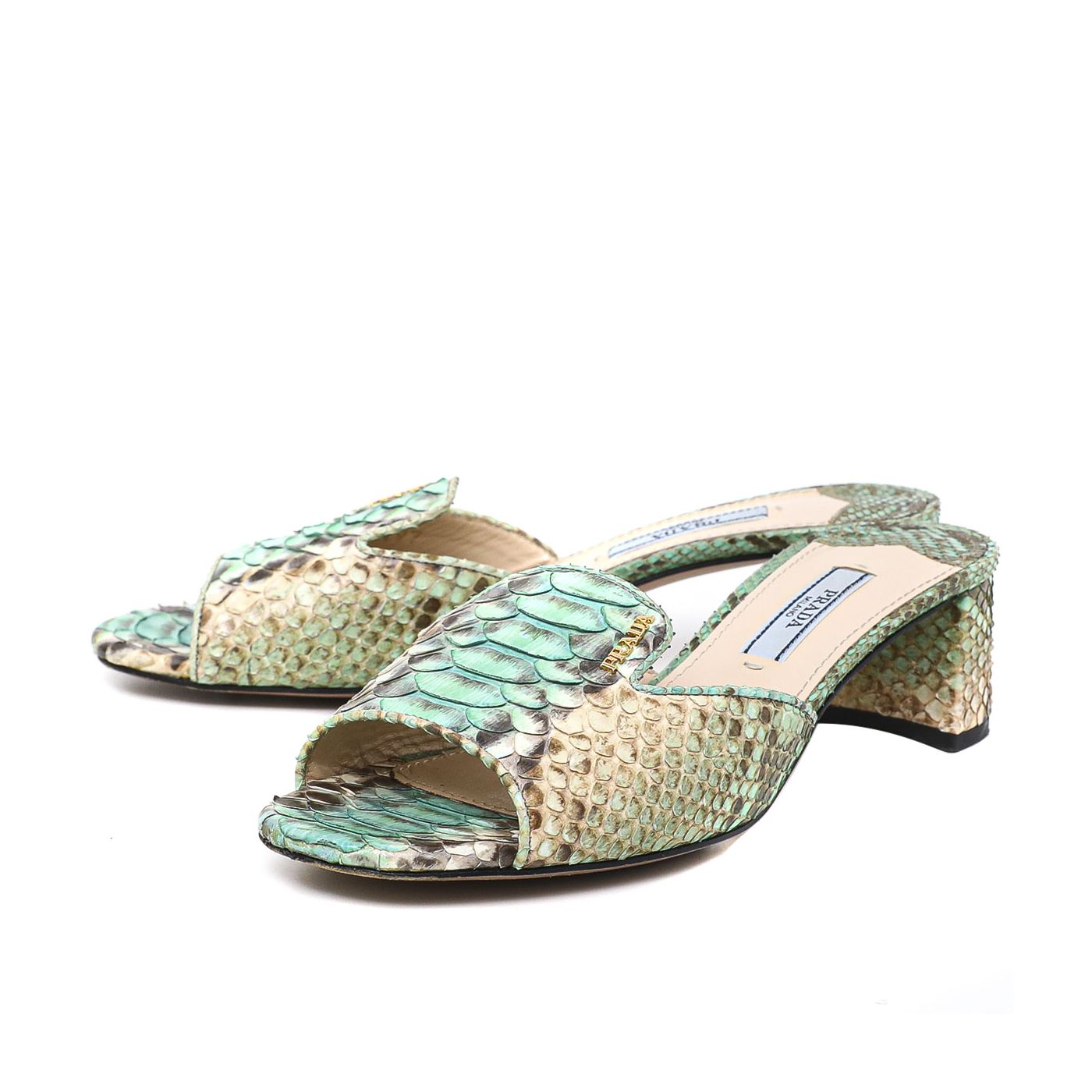 Prada Python Slide Block Sandals 35.5