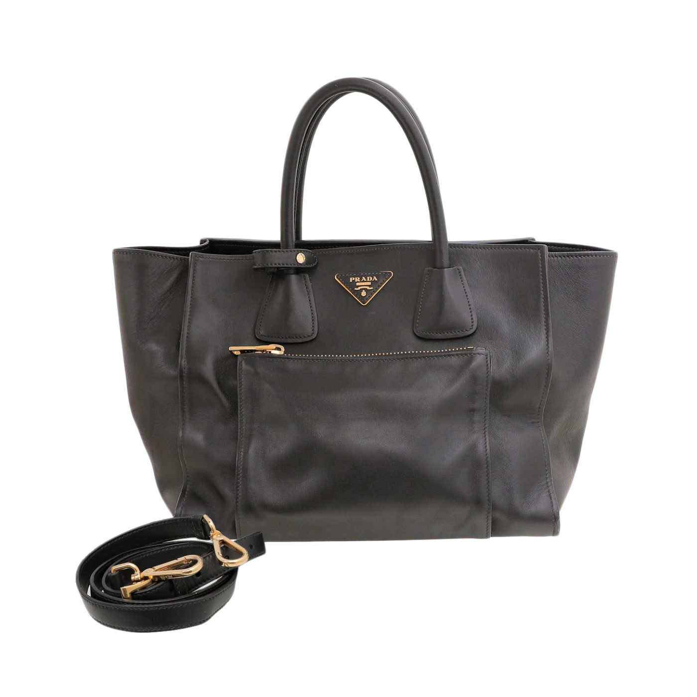 Prada Nero Soft Double Handle Tote Bag
