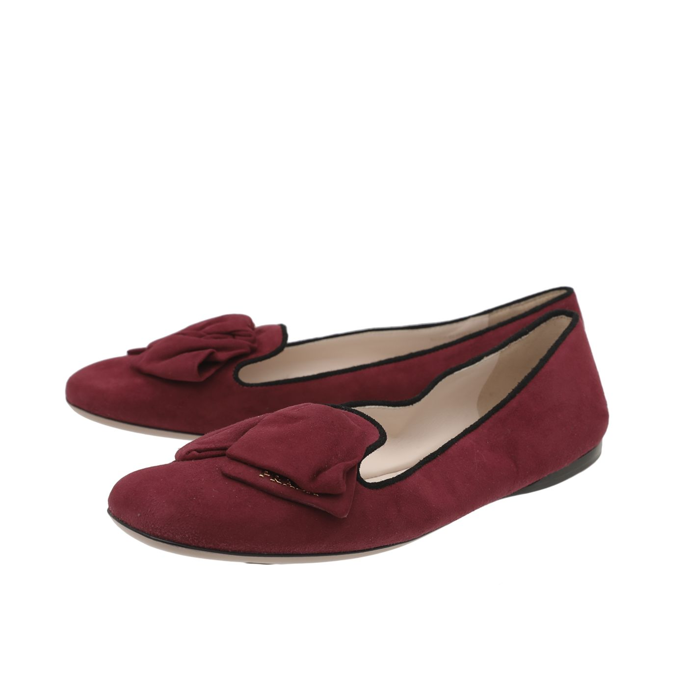 Prada Bicolor Suede Bow Accents Loafers Ballet Flats 39.5
