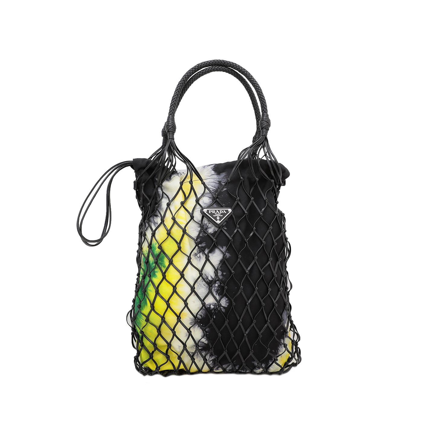 Prada Black / Multicolor Tie-Dye Fabric and Mesh Bag
