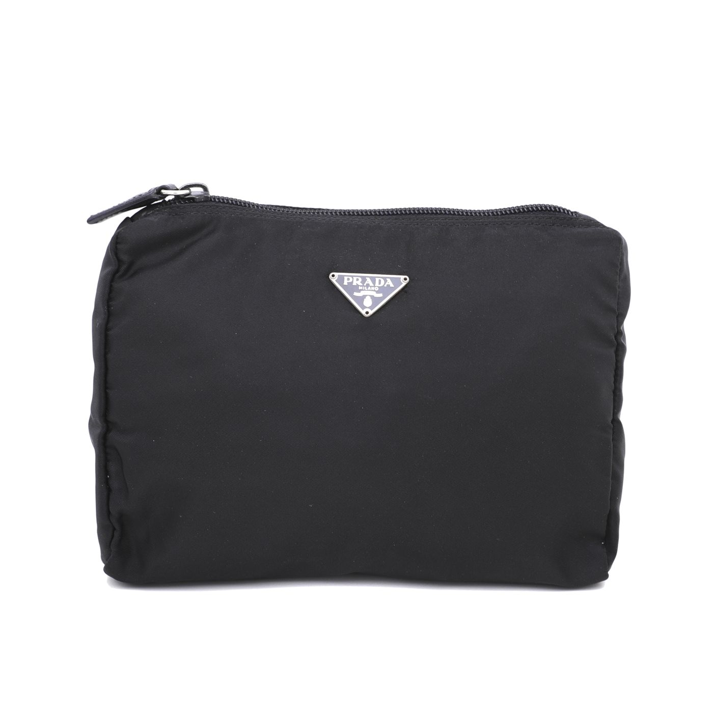Prada Black Nylon Vela Cosmetic Zip Pouch