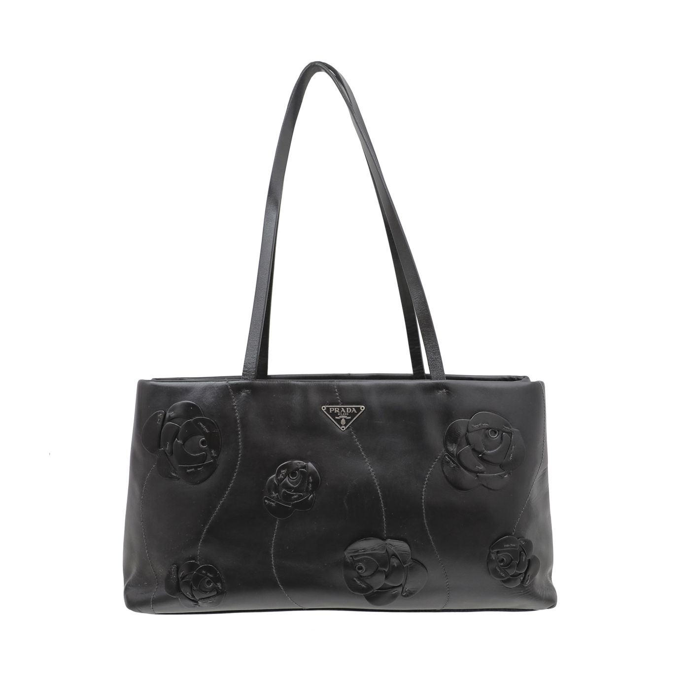 Prada Black Vintage Flower Applique Tote Bag
