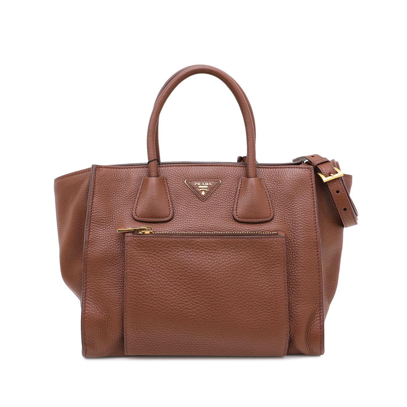 Prada Brown Vitello Daino Front Pocket Wing Convertible Tote Bag