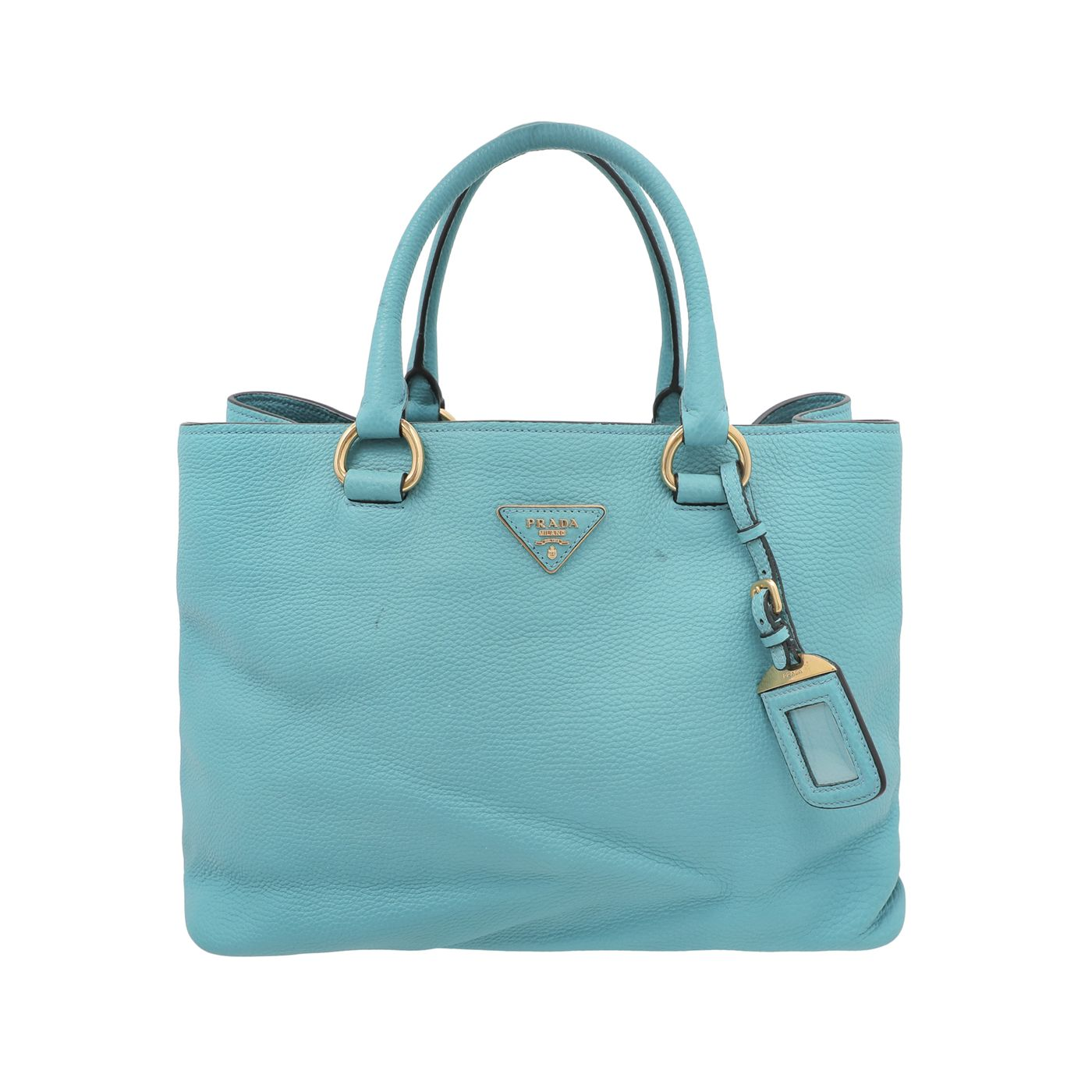 Prada Turchese Vitello Daino Shopping Tote Bag