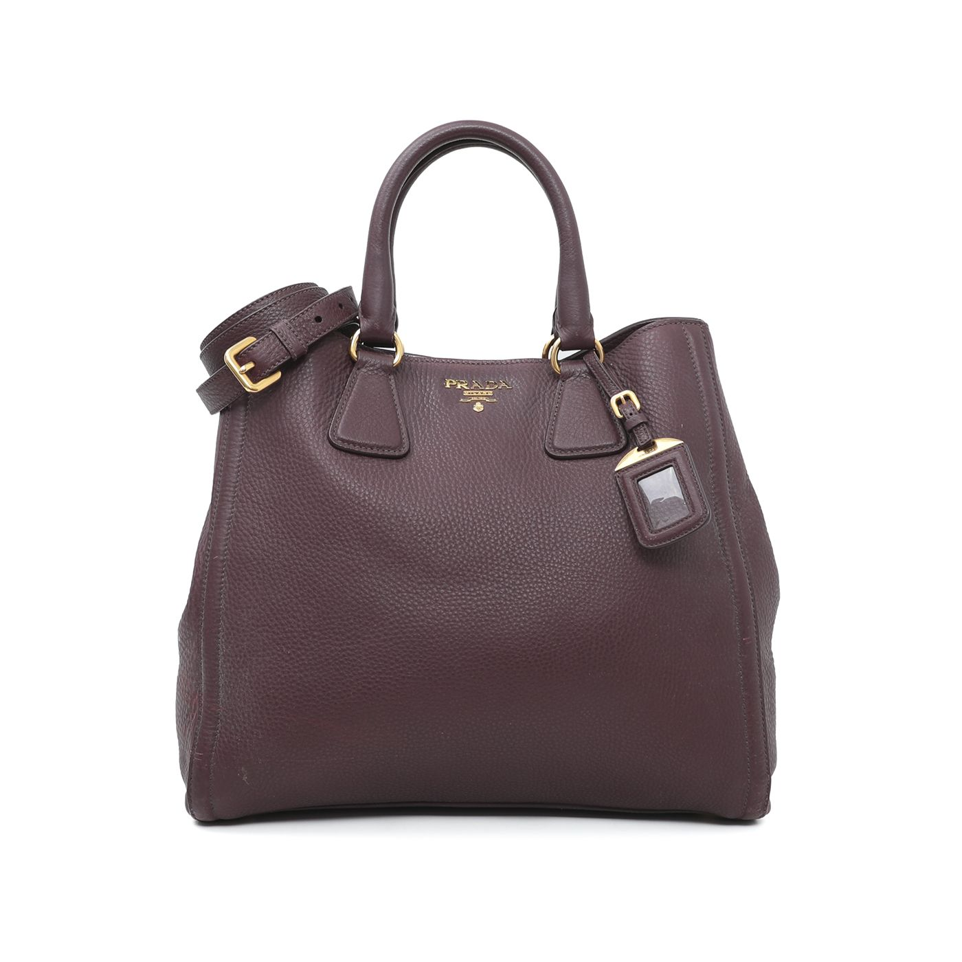 Prada Burgundy Vitello Daino Tote Bag