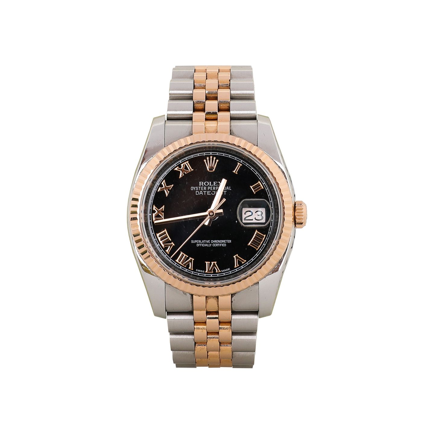 Rolex Datejust 18K Rose Gold Oyster Perpetual 36mm Watch