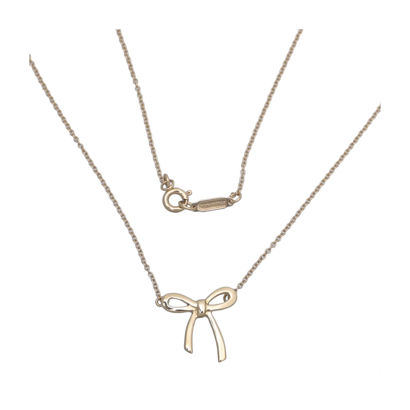 Tiffany & Co 18K Yellow Gold Bow Pendant Necklace