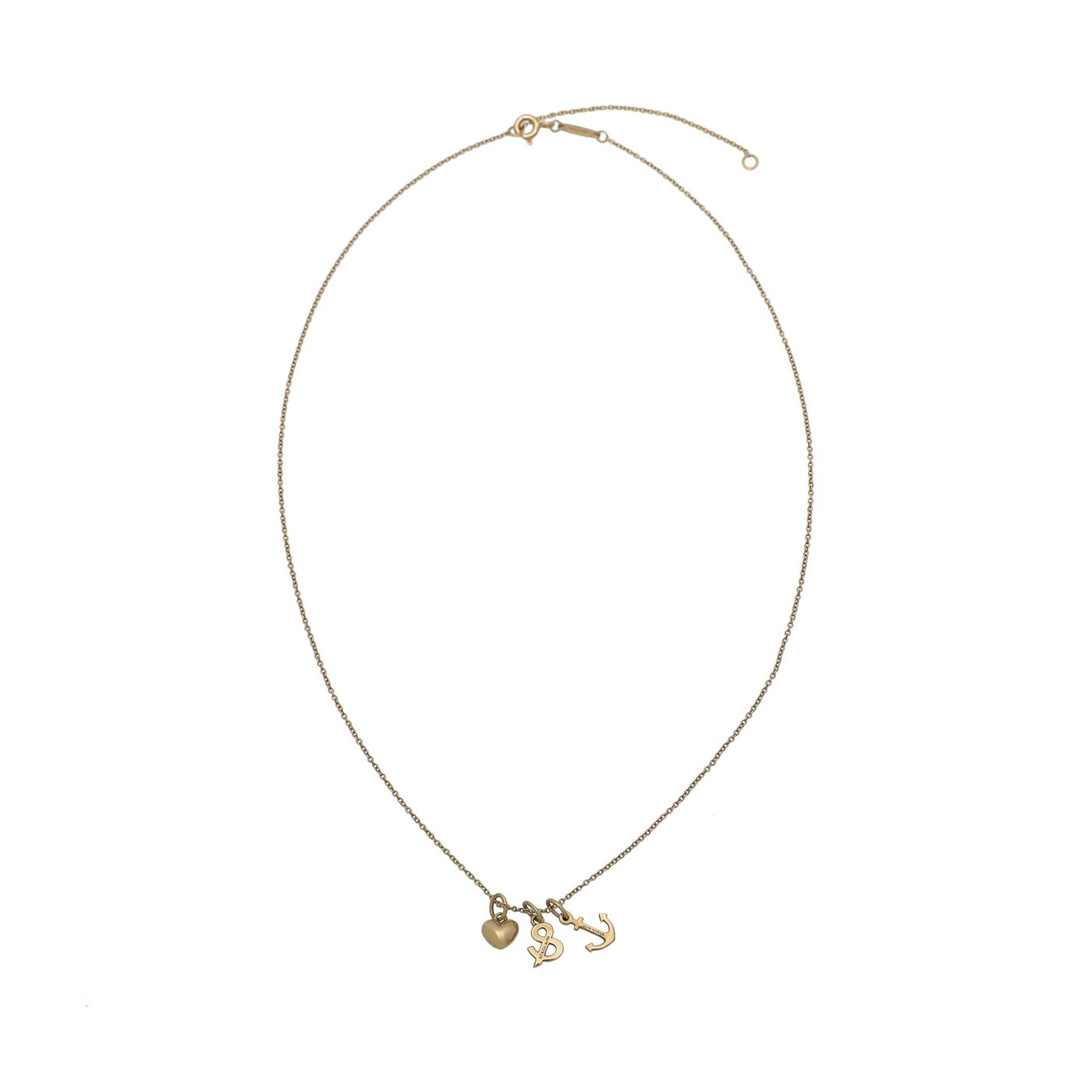 Tiffany & Co 18K Yellow Gold Heart Anchor Pendant Necklace