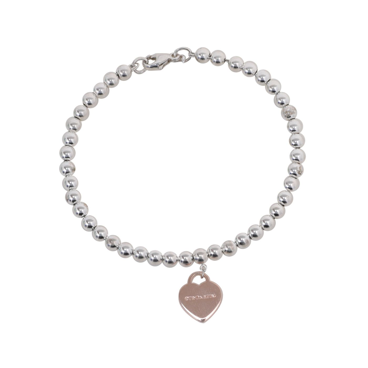 Tiffany & Co Silver Heart Bead Bracelet Return To Tiffany