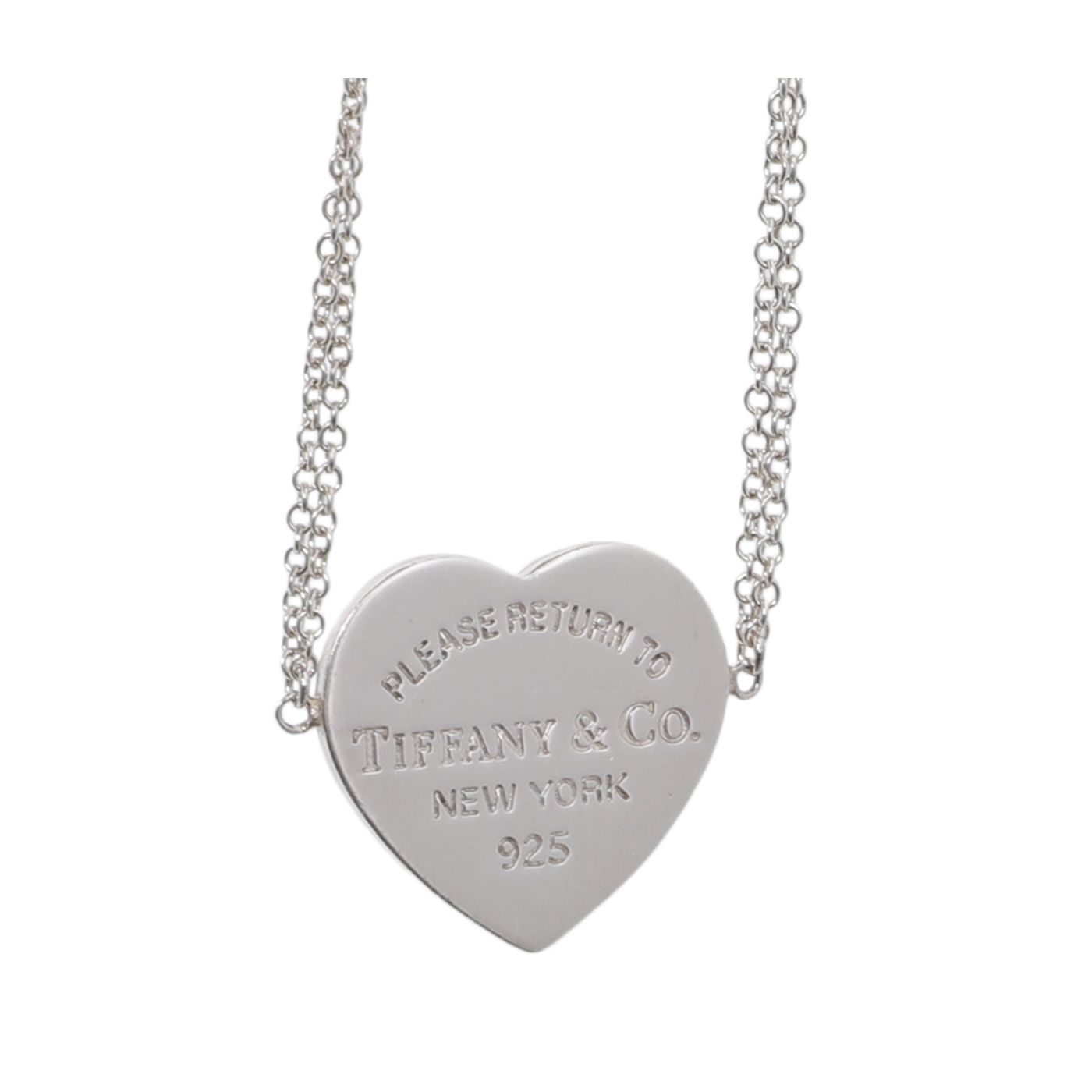 Tiffany & Co Sterling Silver Heart Tag Double Chain Bracelet