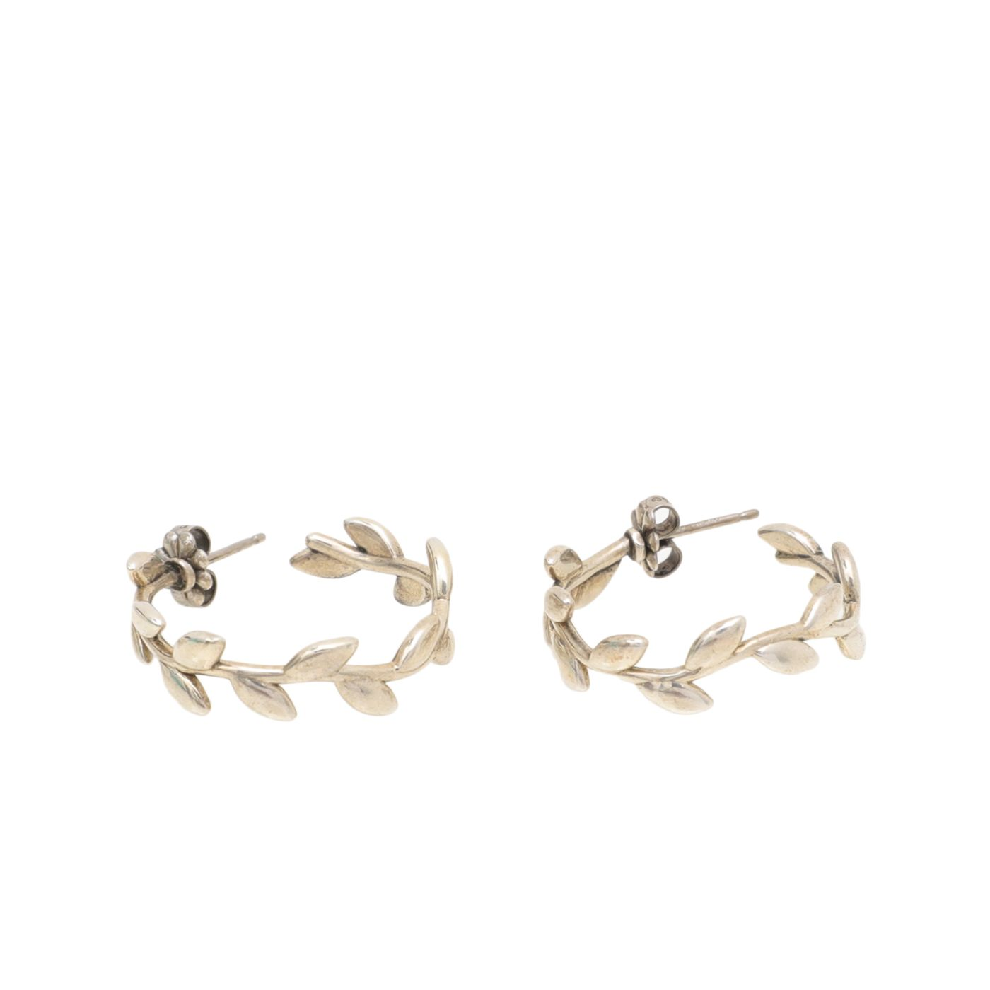 Tiffany & Co Silver Paloma Picasso Olive Leaf Hoop Earrings