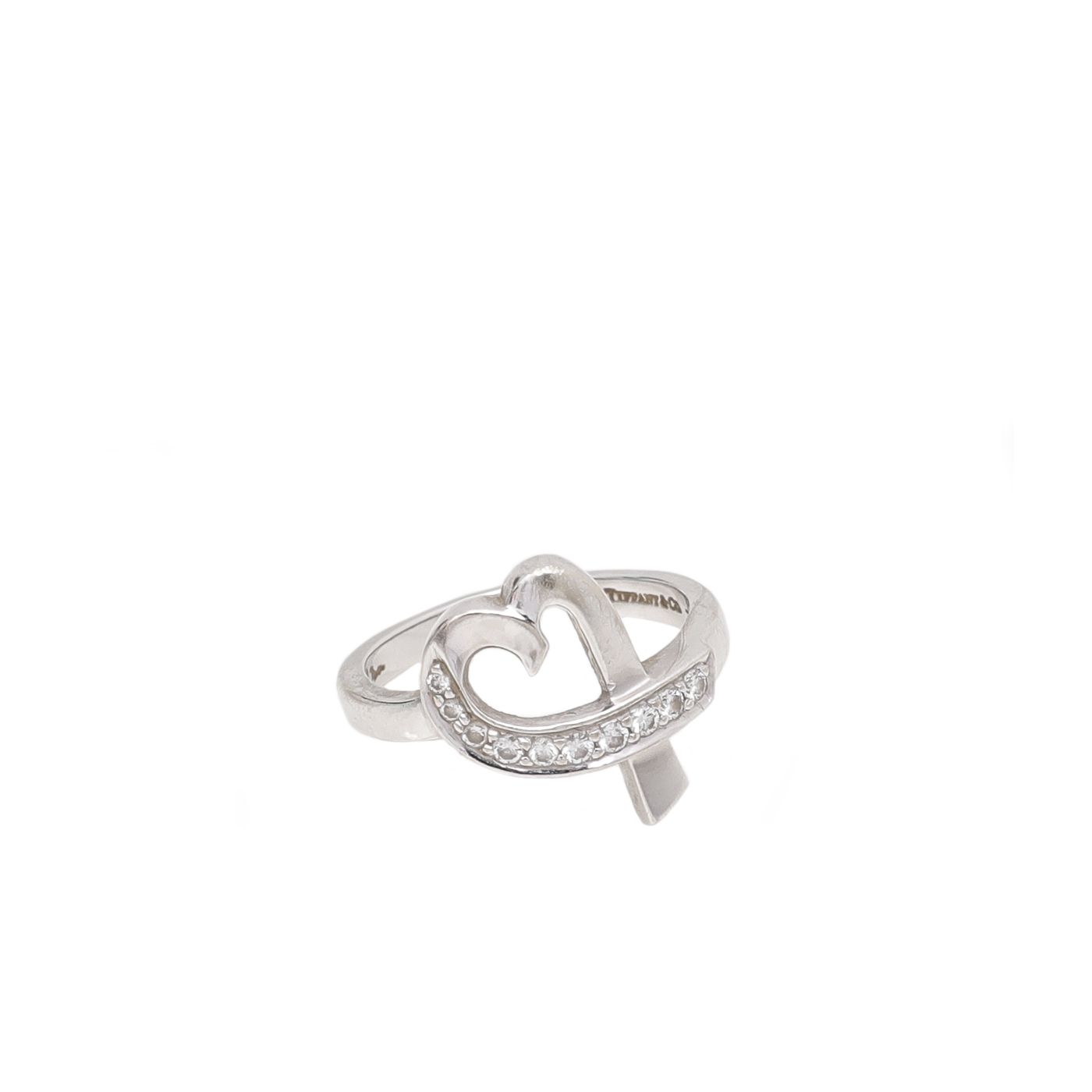 Tiffany & Co 18K White Gold Diamond Picasso Loving Heart Ring