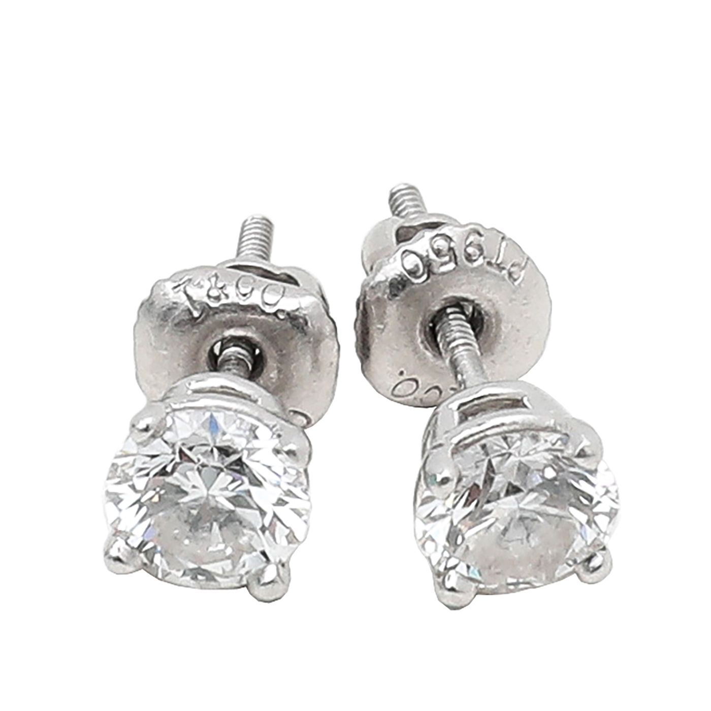 Tiffany & Co Platinum Solitaire Diamond Earrings