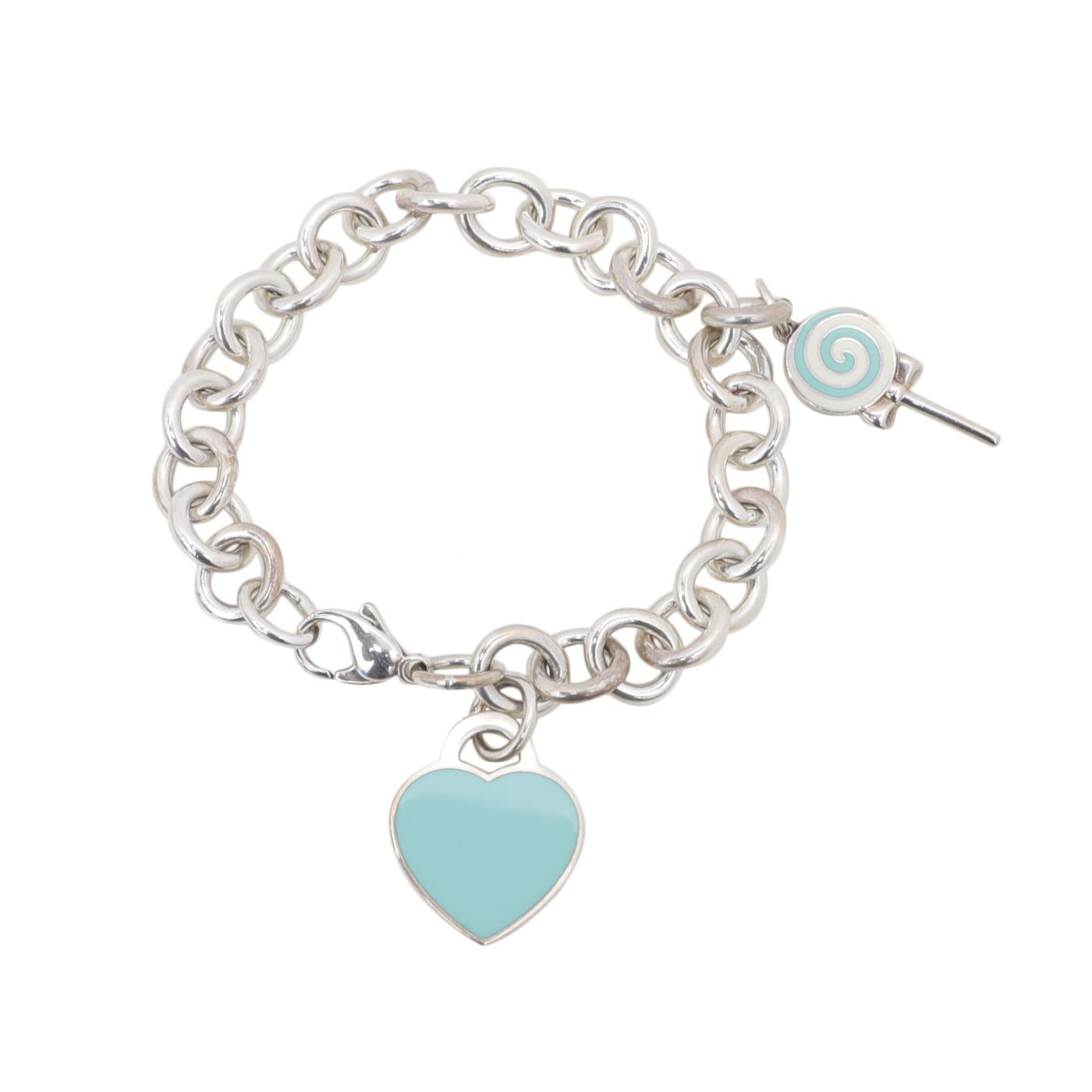 Tiffany & Co Silver Return To Tiffany Heart Tag Lollipop Charm Bracelet