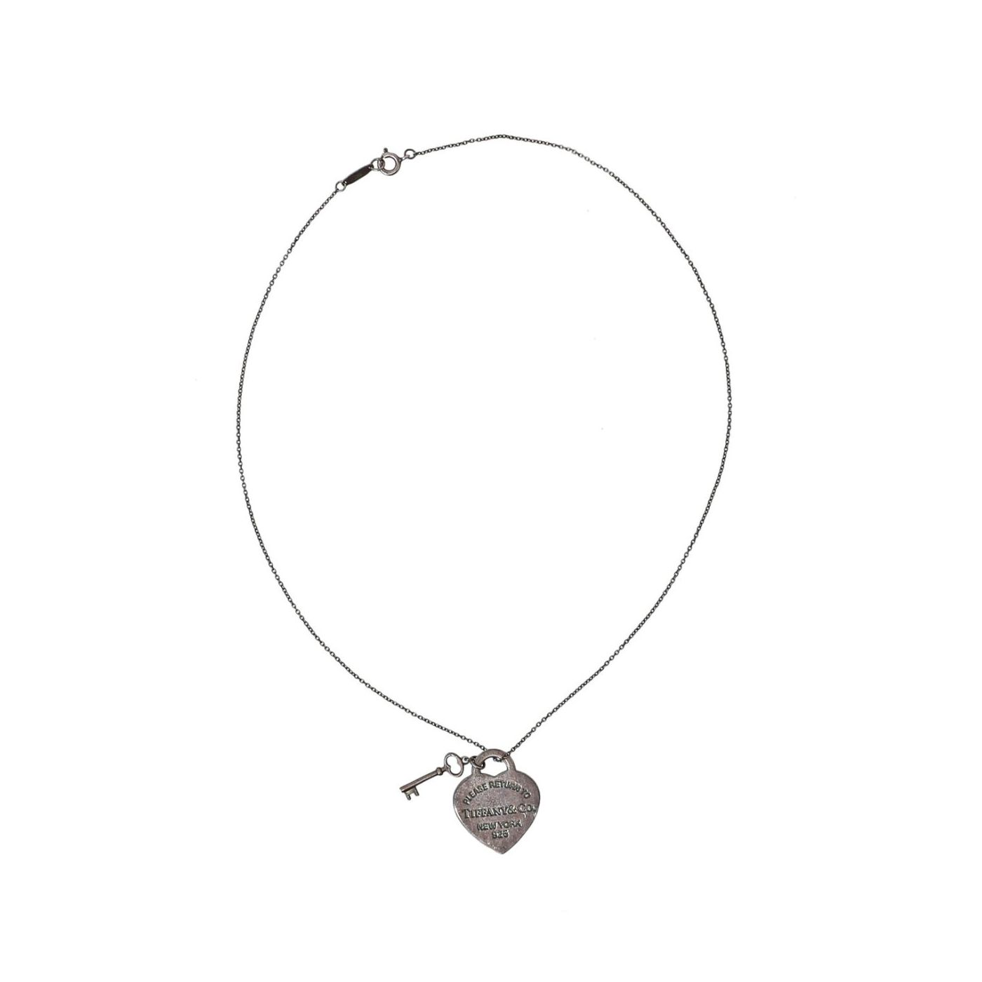 Tiffany & Co. Heart & Key Pendant Necklace