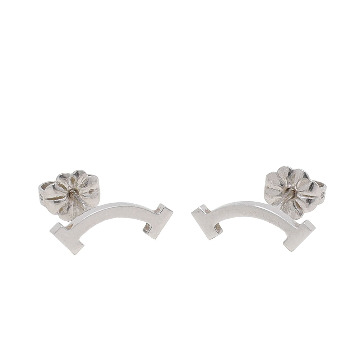 Tiffany & Co 18K White Gold T Smile Earrings